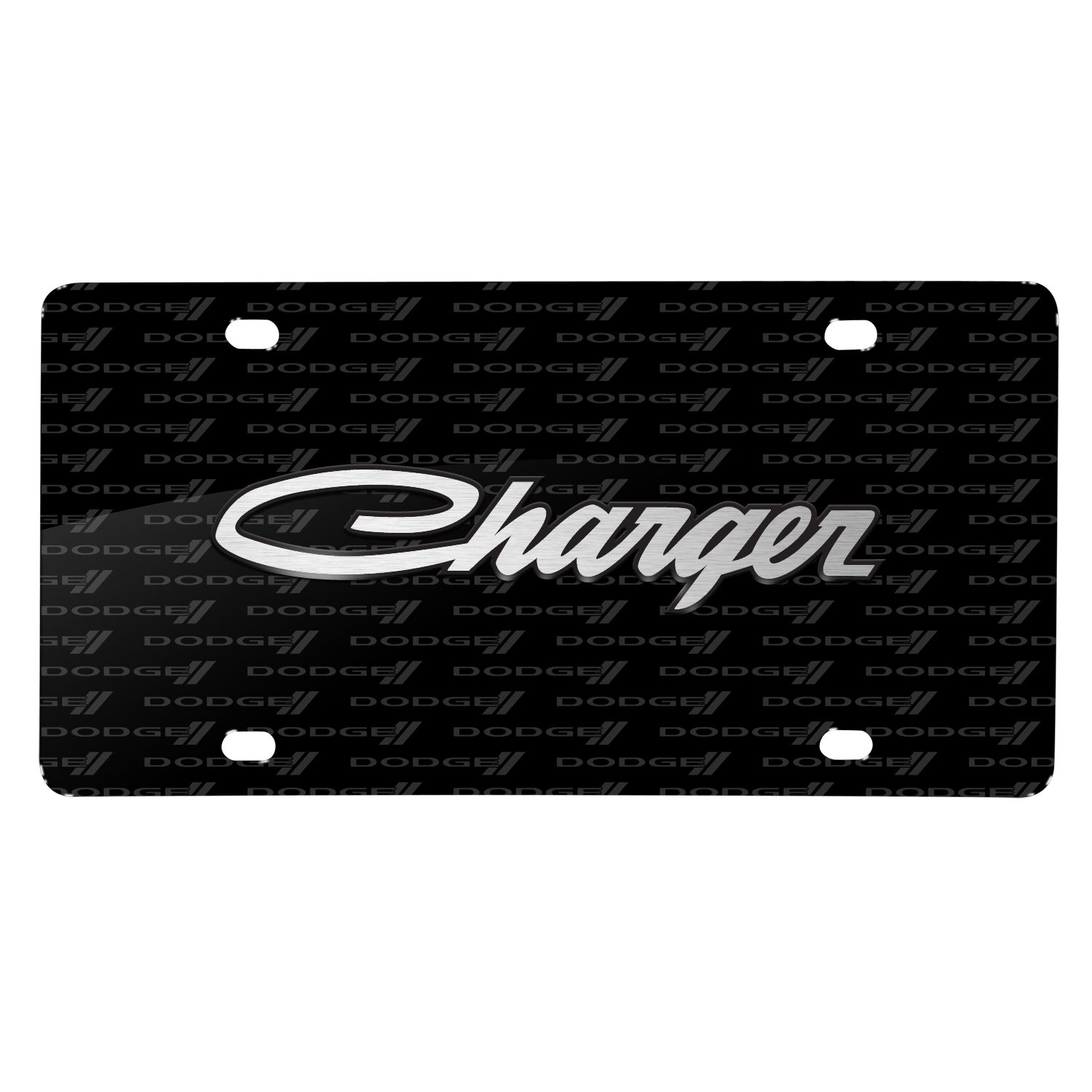 Dodge Charger Classic 3D Logo on Logo Pattern Black Aluminum License Plate