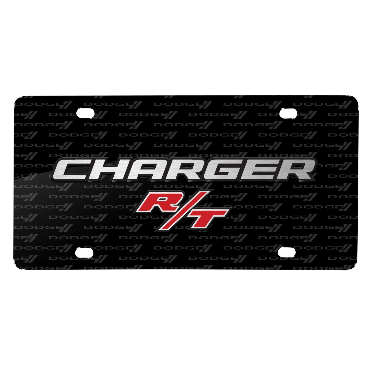 Dodge Charger R/T 3D Logo on Logo Pattern Black Aluminum License Plate