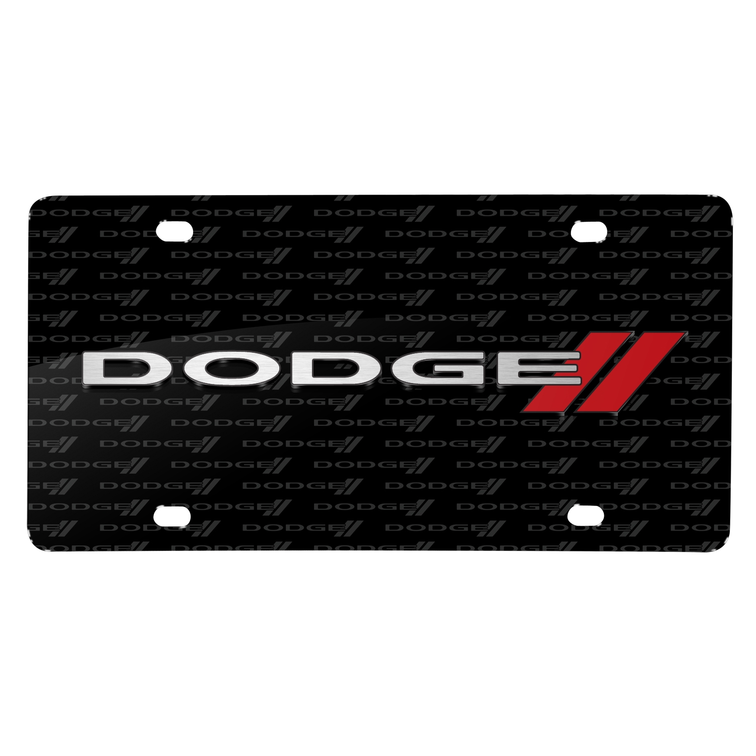 Dodge 3D Logo on Logo Pattern Black Aluminum Metal License Plate