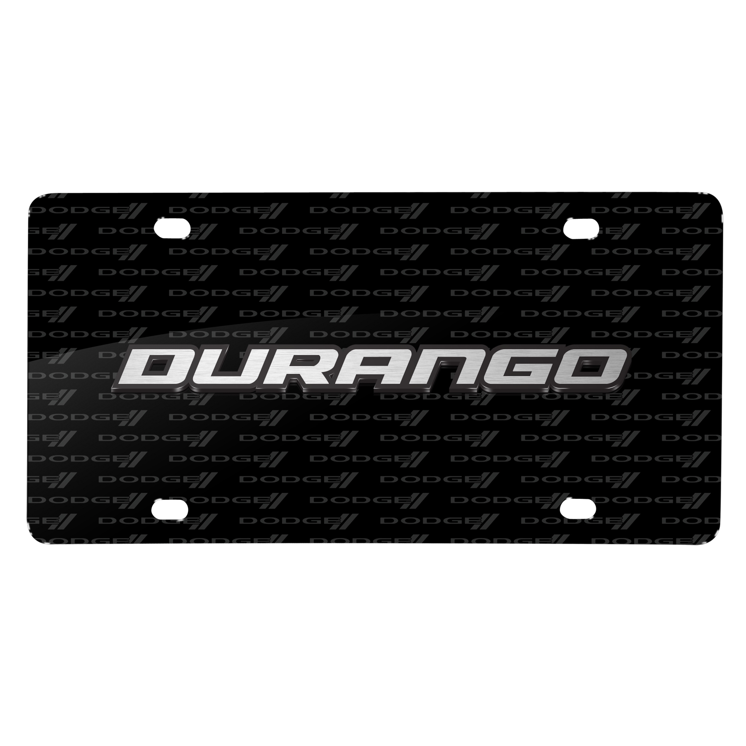 Dodge Durango 3D Logo on Logo Pattern Black Aluminum License Plate