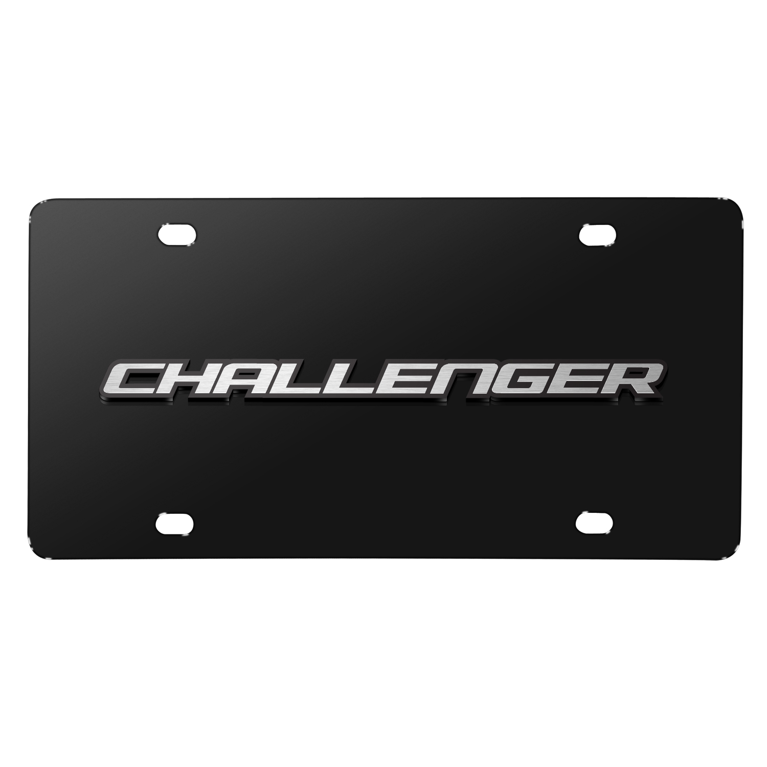 Dodge Challenger 3D Logo on Black Stainless Steel License Plate