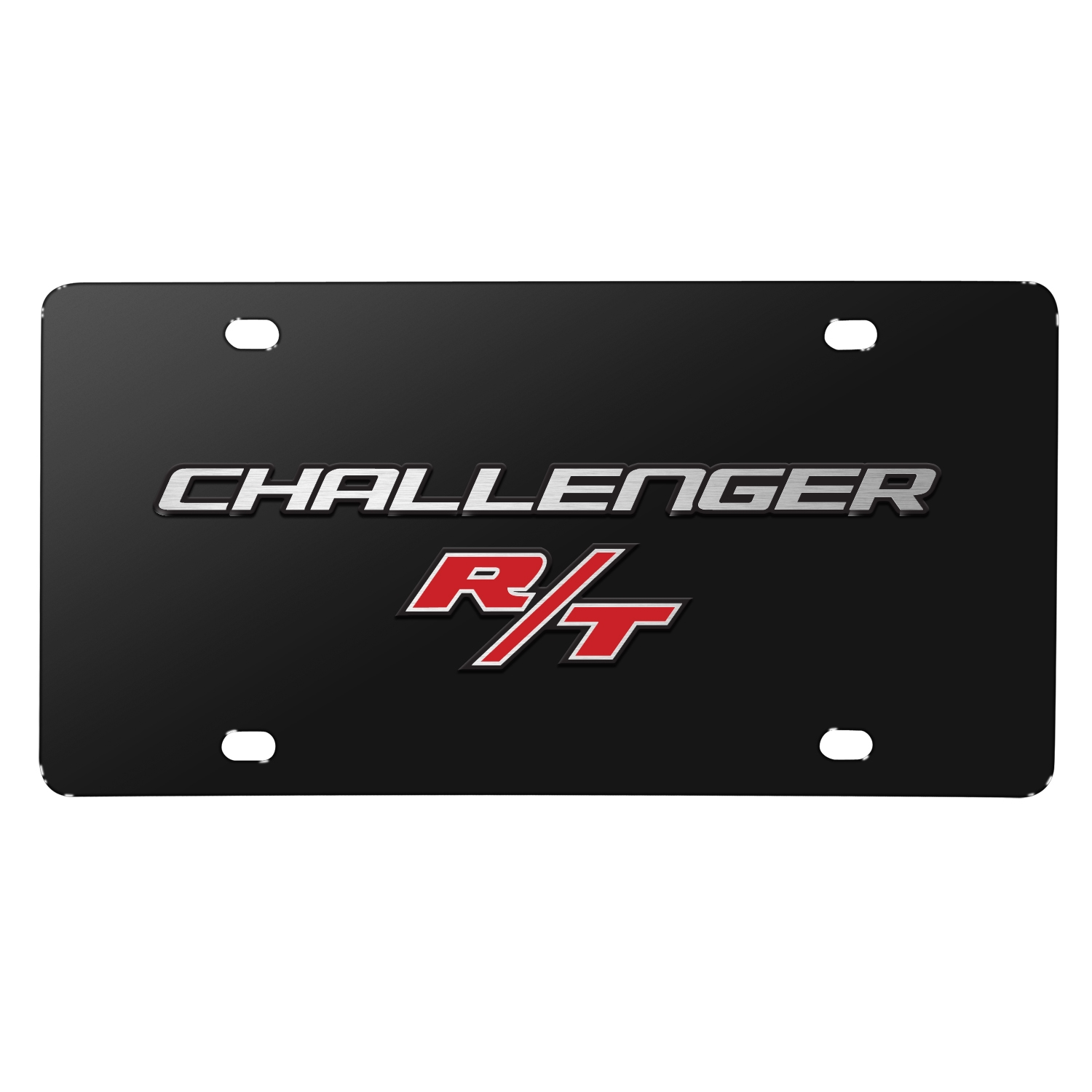 Dodge Challenger R/T 3D Logo on Black Stainless Steel License Plate