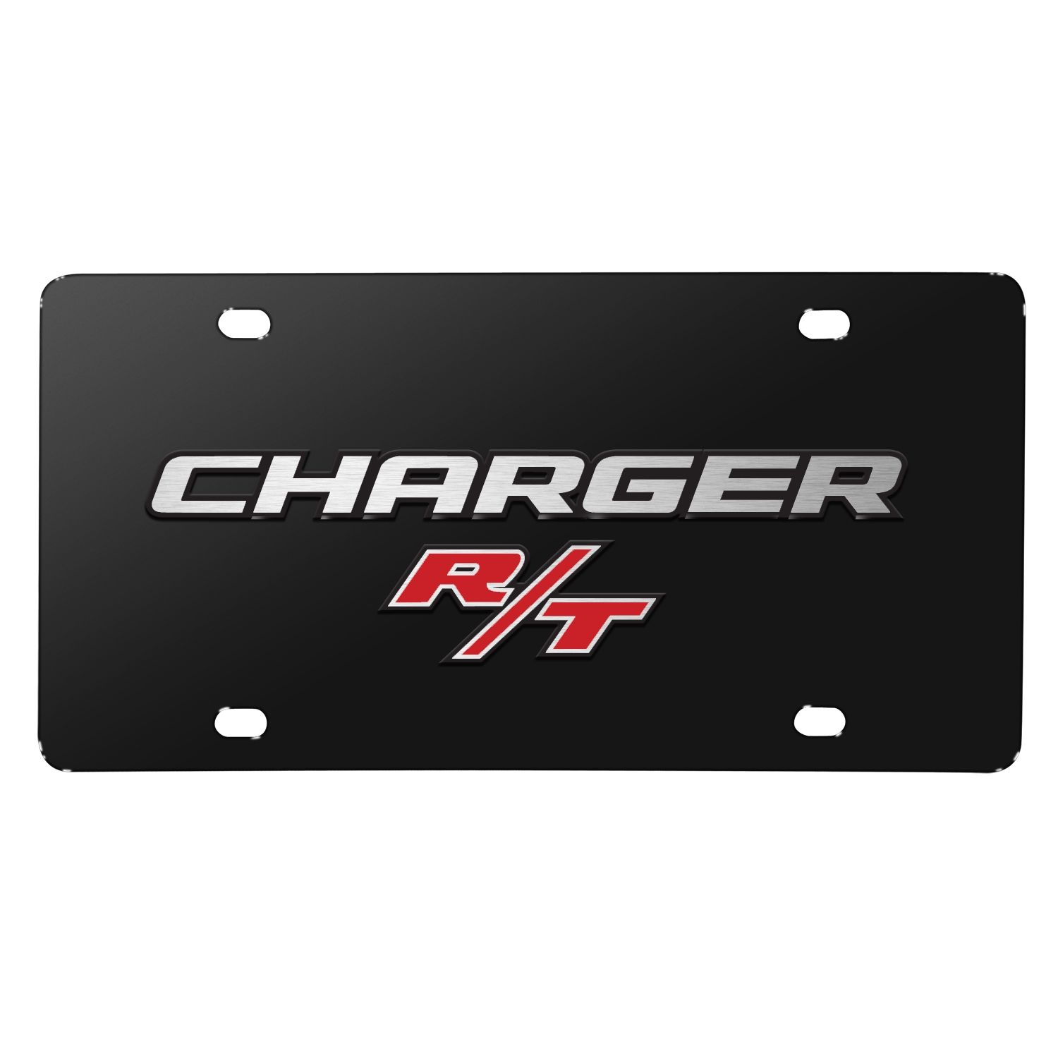 Dodge Charger R/T 3D Logo on Black Stainless Steel License Plate