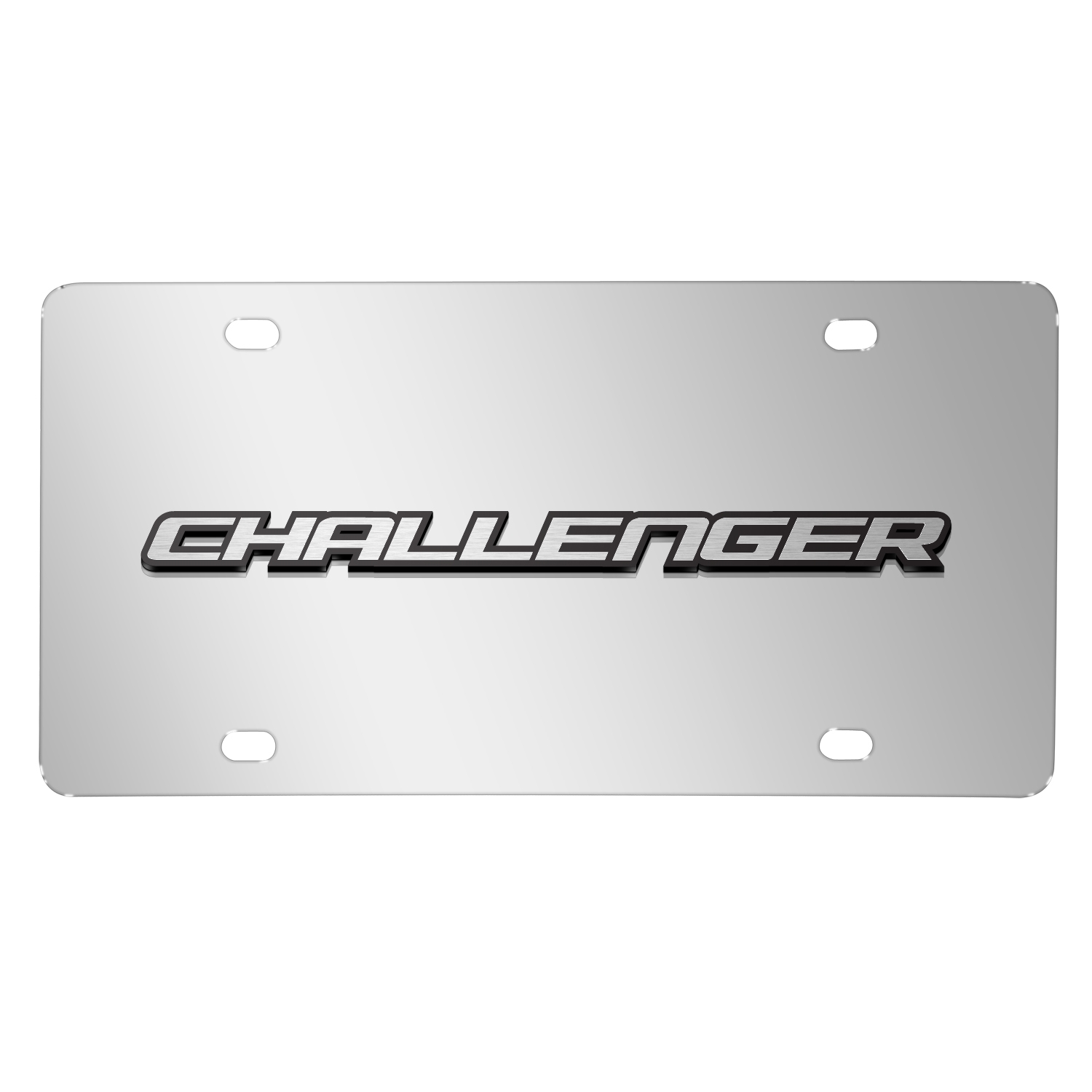 Dodge Challenger 3D Logo on Chrome Stainless Steel License Plate