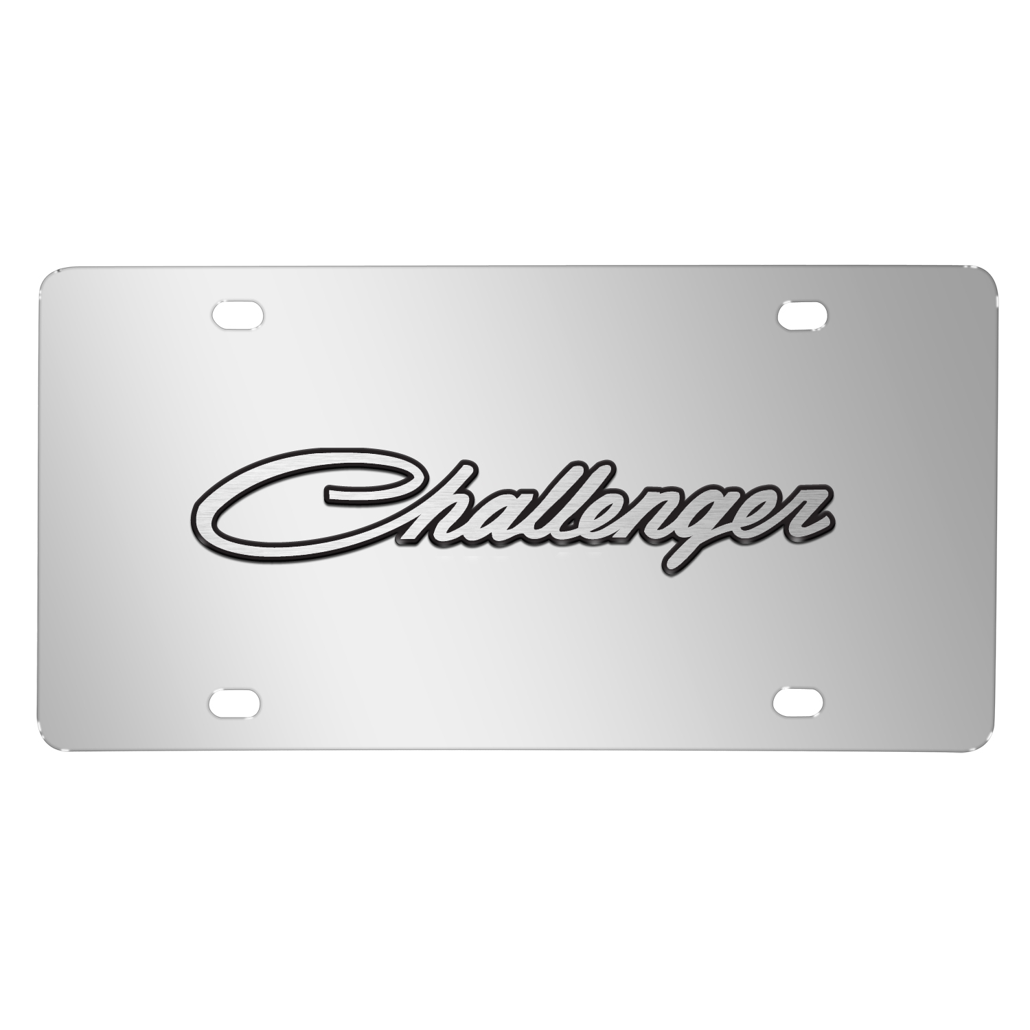 Dodge Challenger Classic 3D Logo on Chrome Stainless Steel License Plate