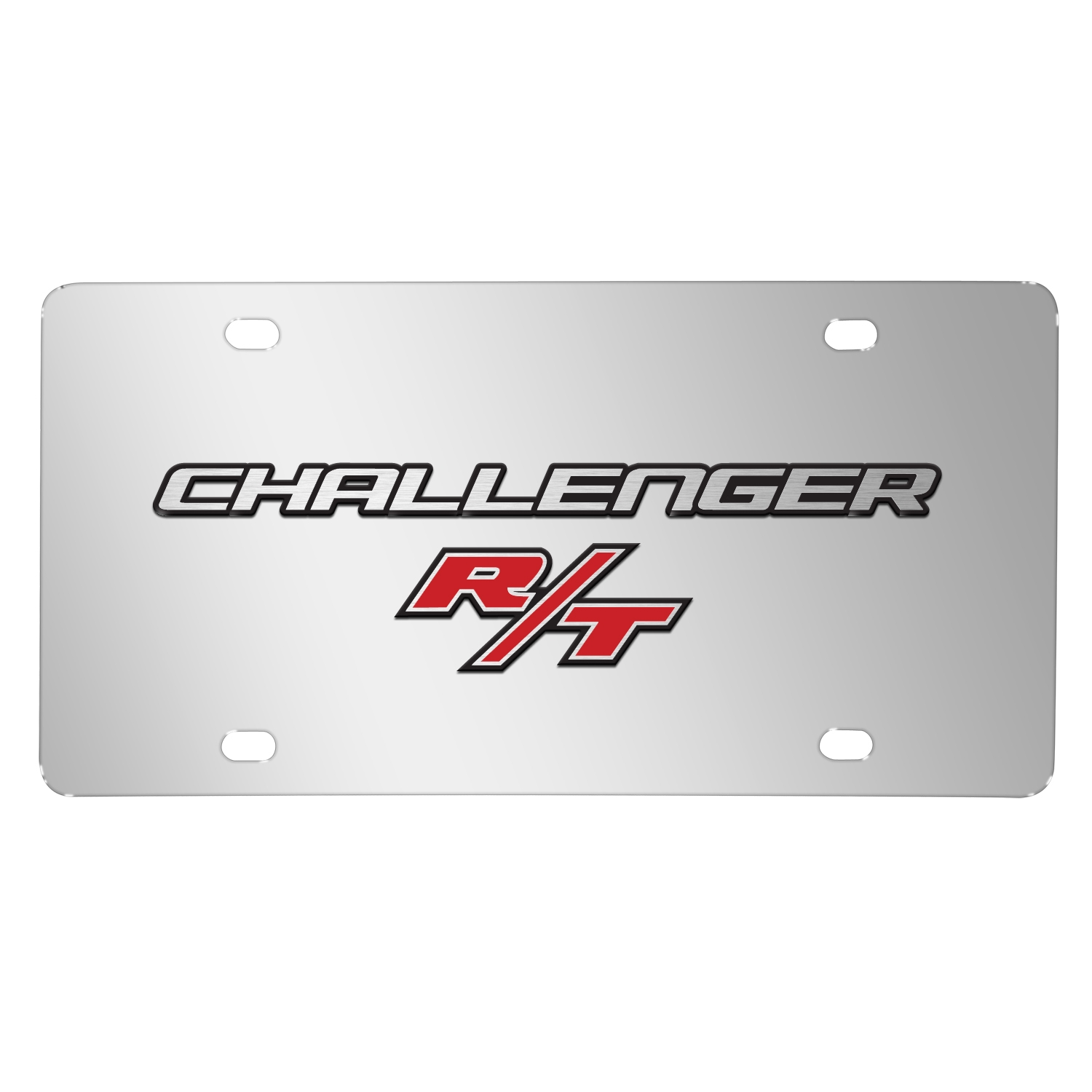 Dodge Challenger R/T 3D Logo on Chrome Stainless Steel License Plate