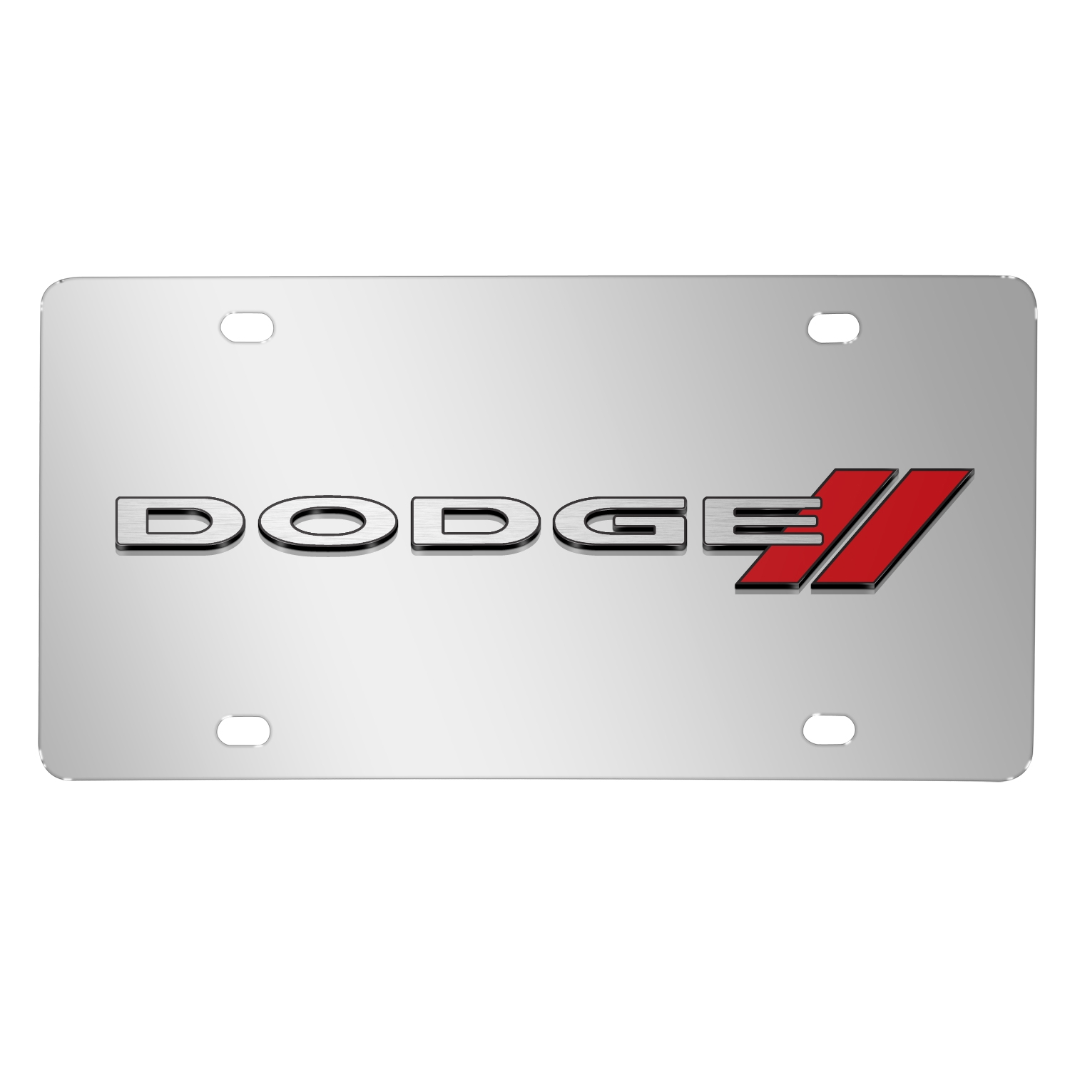 Dodge 3D Logo on Chrome Stainless Steel License Plate