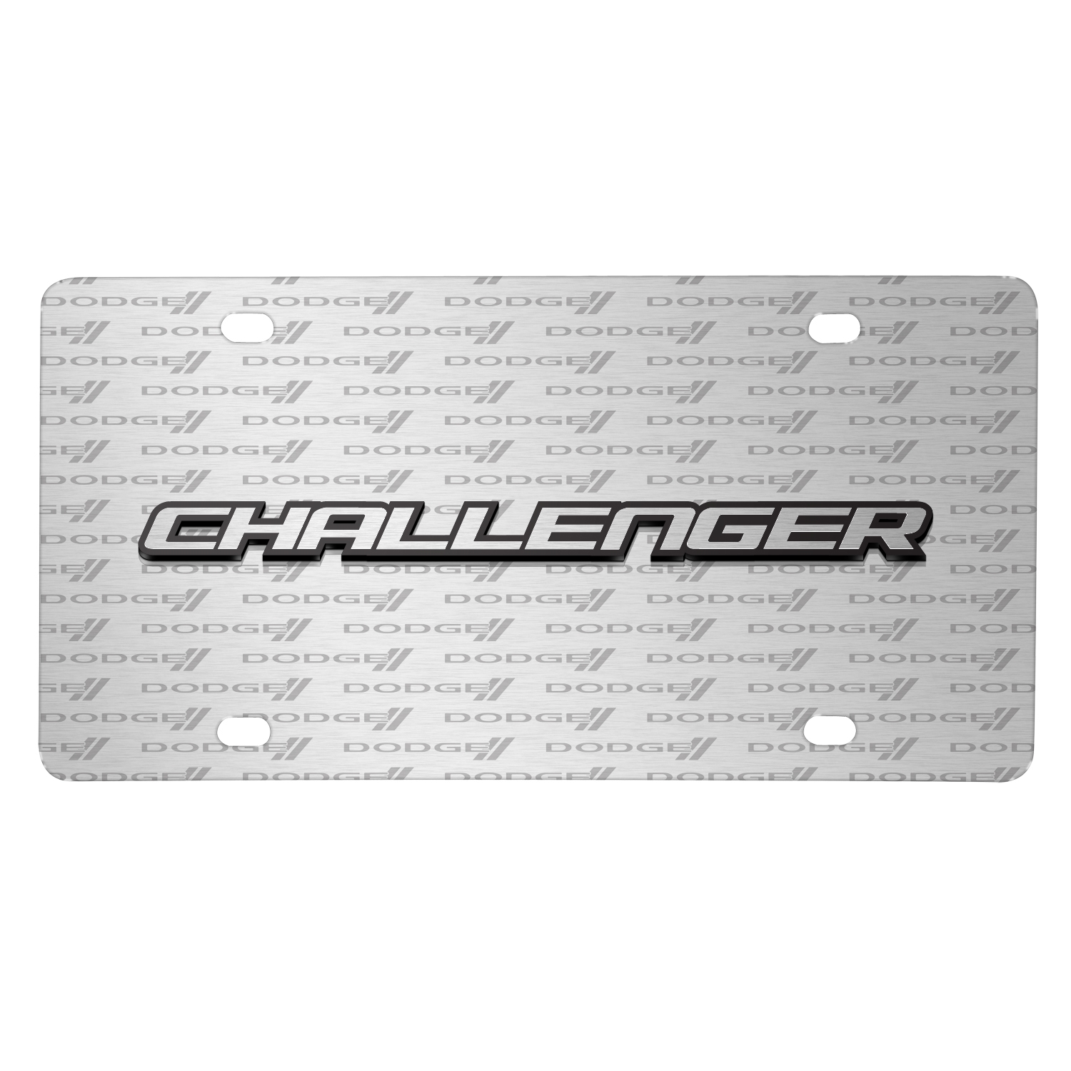 Dodge Challenger 3D Logo on Logo Pattern Brushed Aluminum License Plate