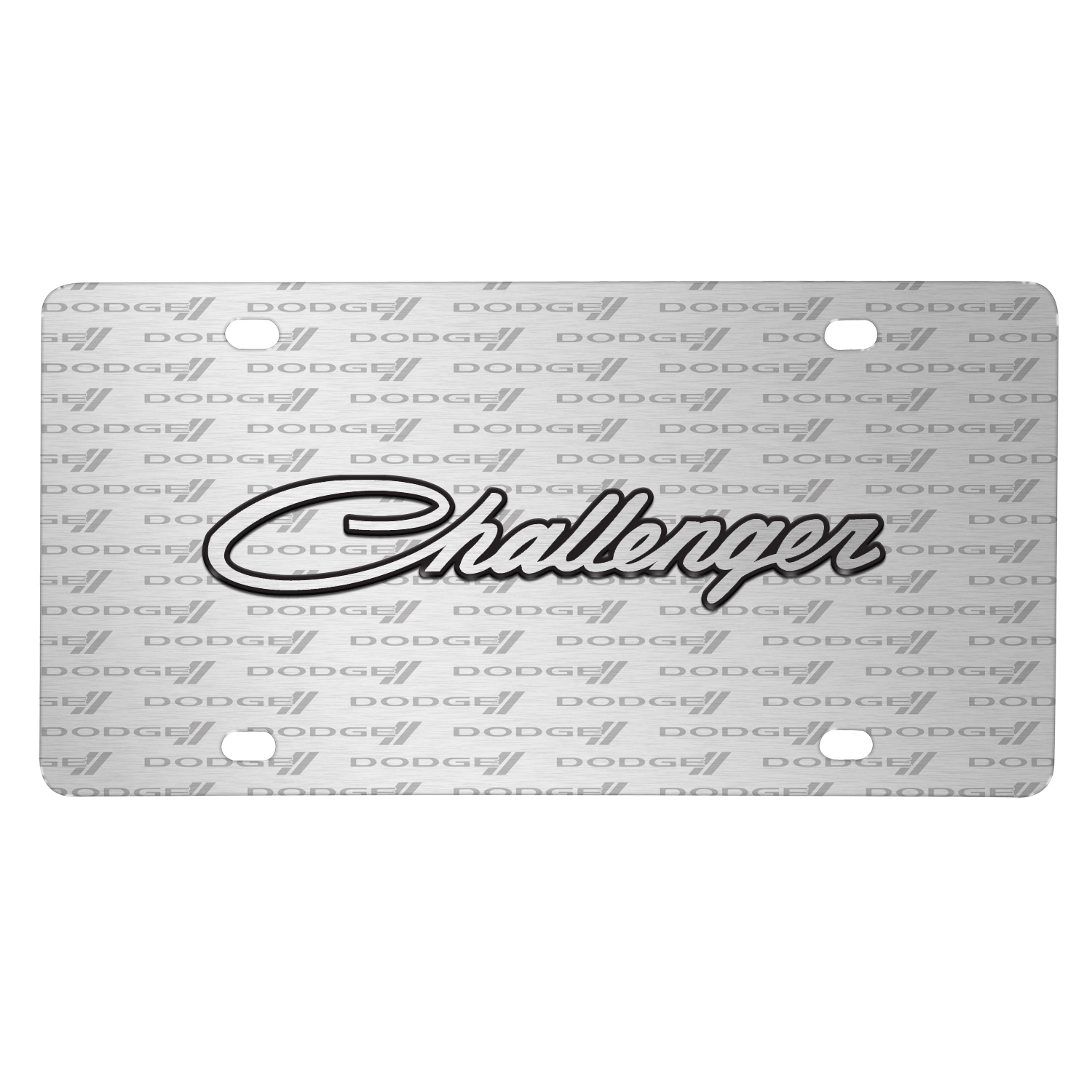 Dodge Challenger Classic 3D Logo on Logo Pattern Brushed Aluminum License Plate