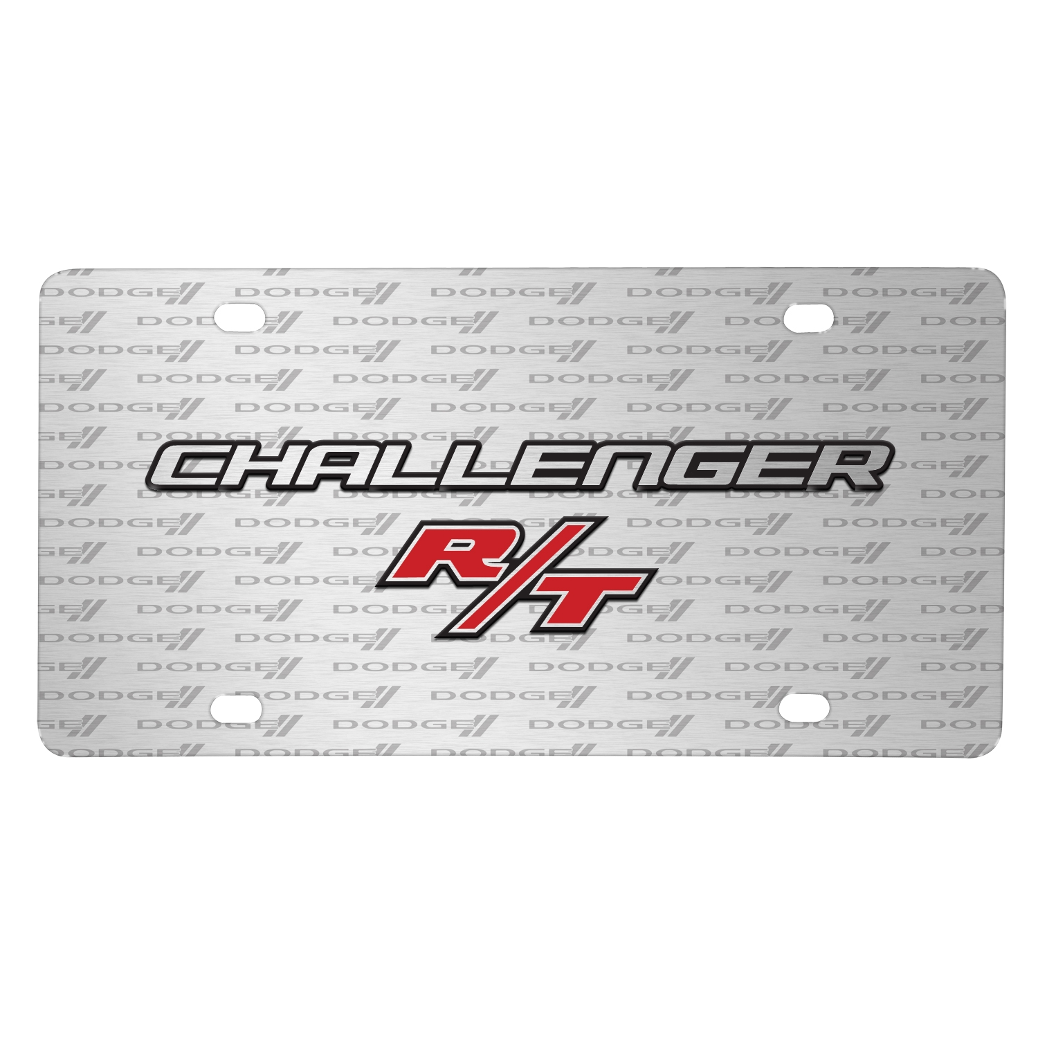 Dodge Challenger R/T 3D Logo on Logo Pattern Brushed Aluminum License Plate
