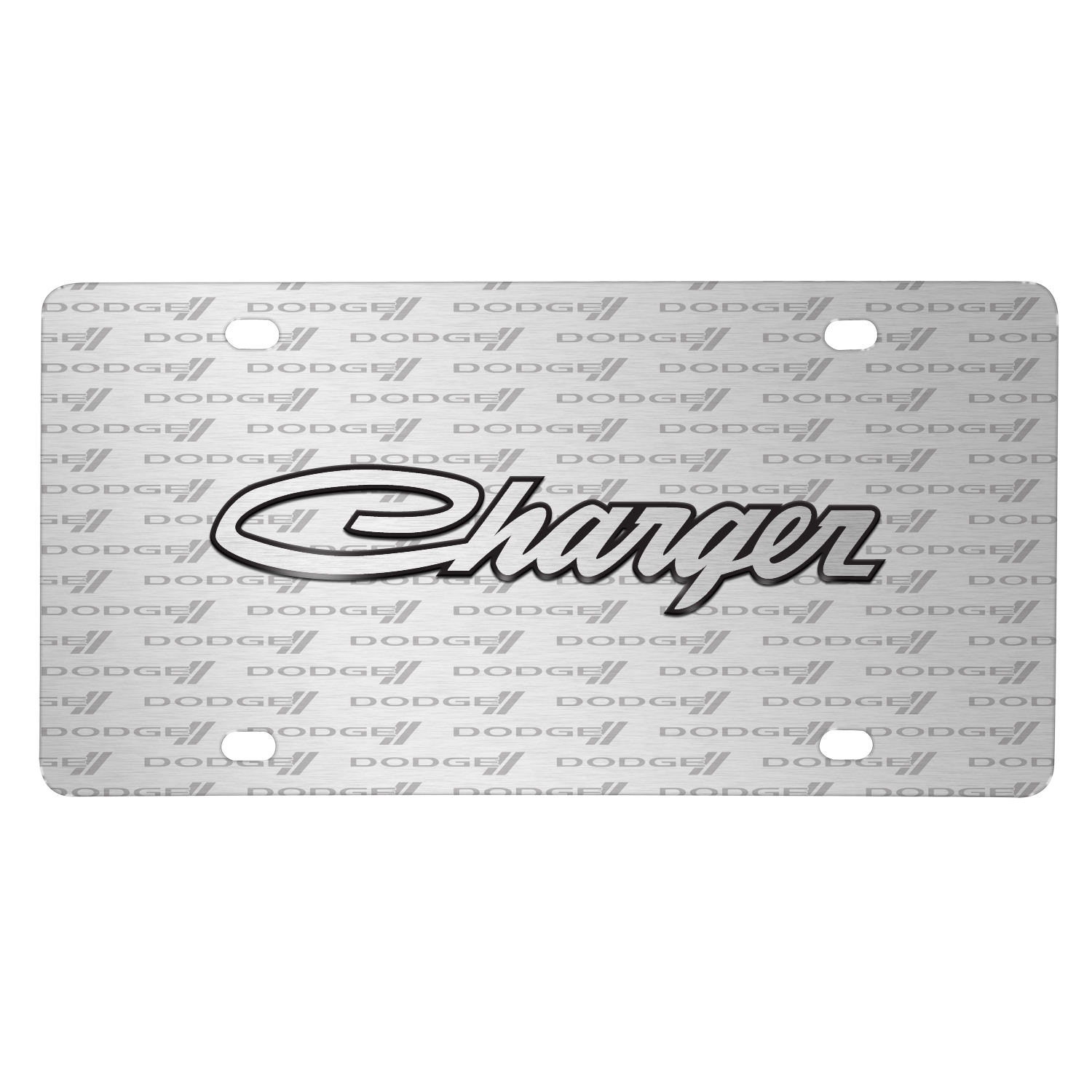 Dodge Charger Classic 3D Logo on Logo Pattern Brushed Aluminum License Plate