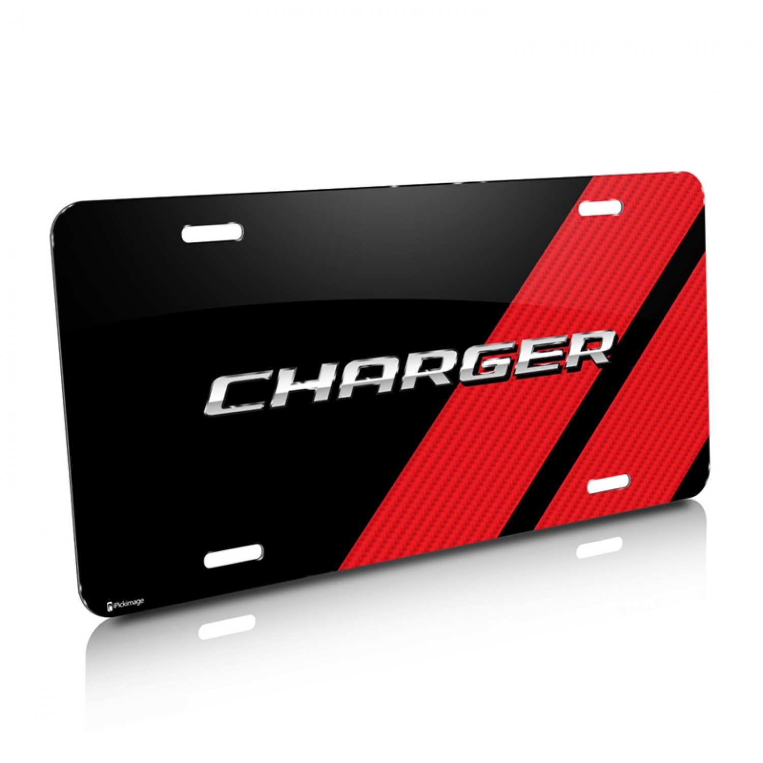 Dodge Charger Carbon Fiber Look Red Stripe Graphic Aluminum License Plate