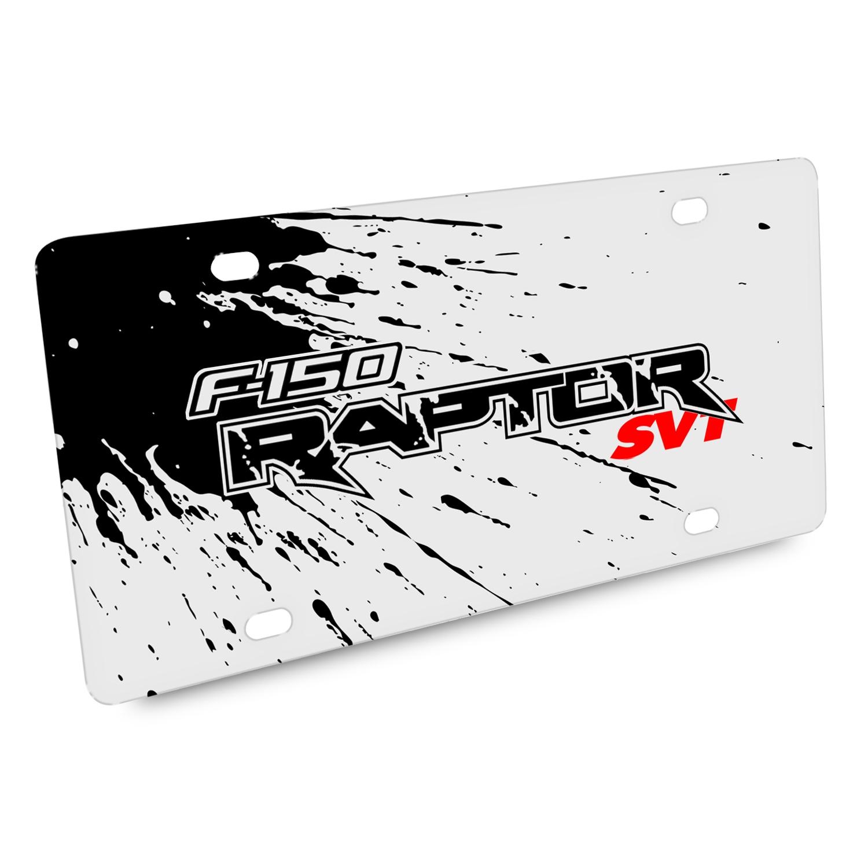 Ford F-150 Raptor SVT Splash Marks Graphic White Acrylic License Plate
