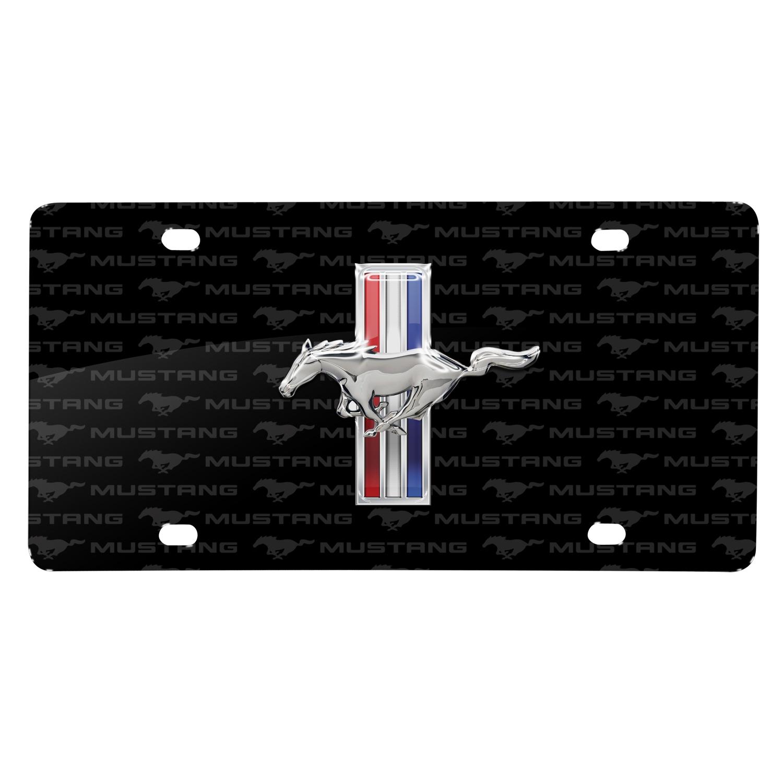 Ford Mustang Tri--Bar 3D Chrome Pony Logo on Logo Pattern Black Aluminum License Plate