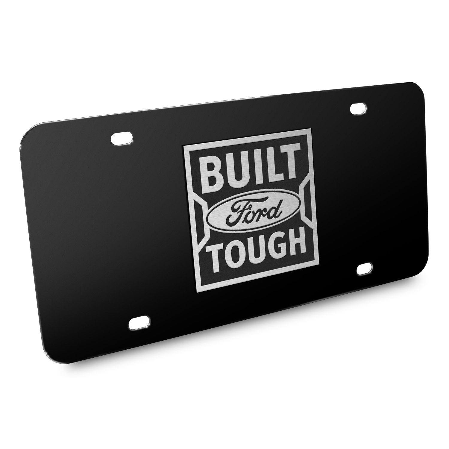 Ford Built Ford Tough 3D Black Stainless Steel License Plate