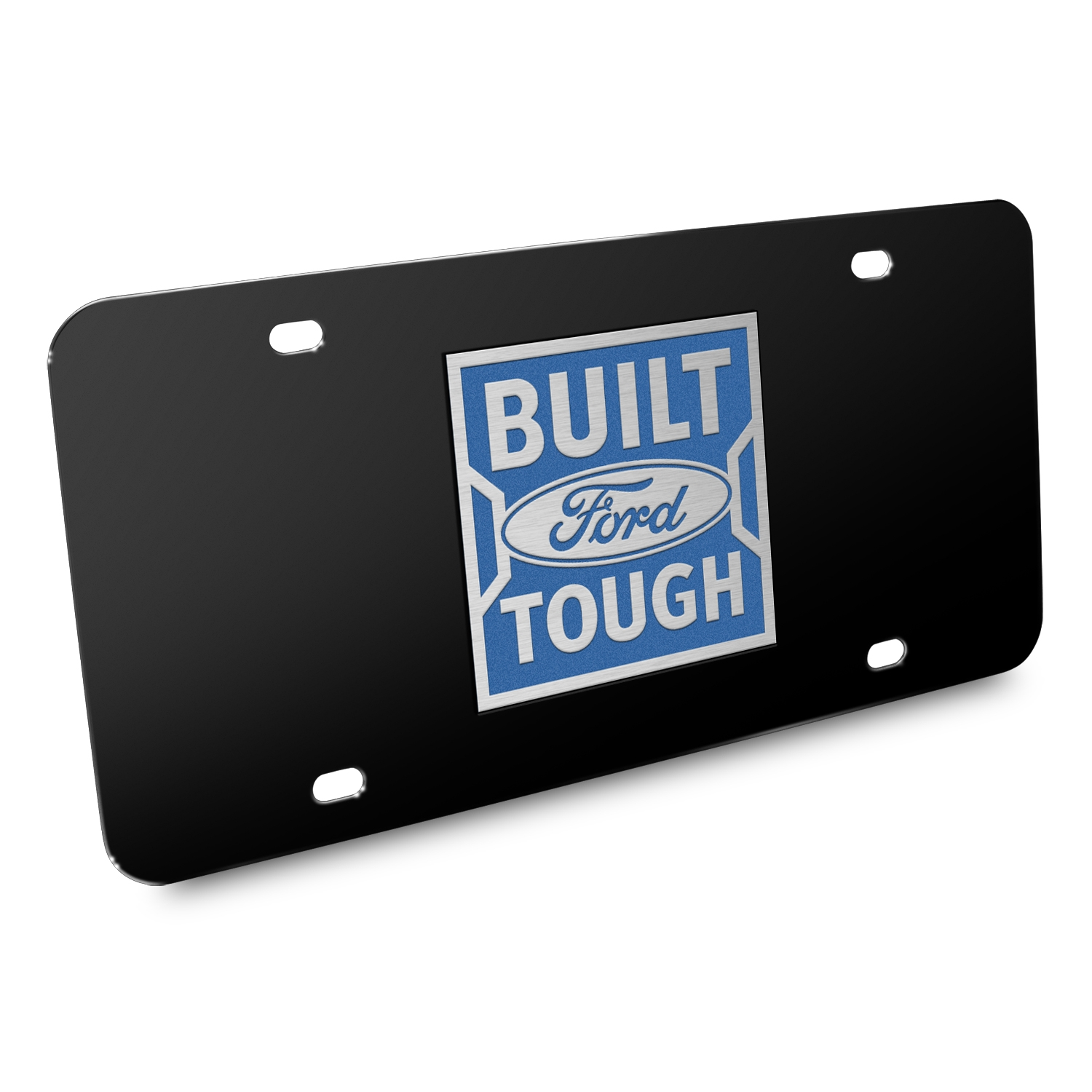 Ford Built Ford Tough in Blue 3D Black Stainless Steel License Plate