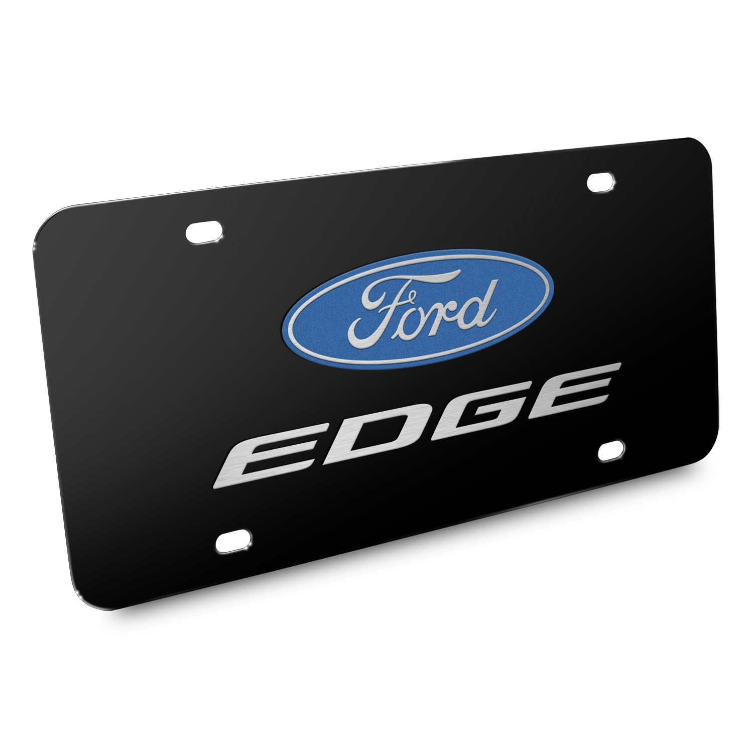 Ford Edge 3D Dual Logo Black Stainless Steel License Plate