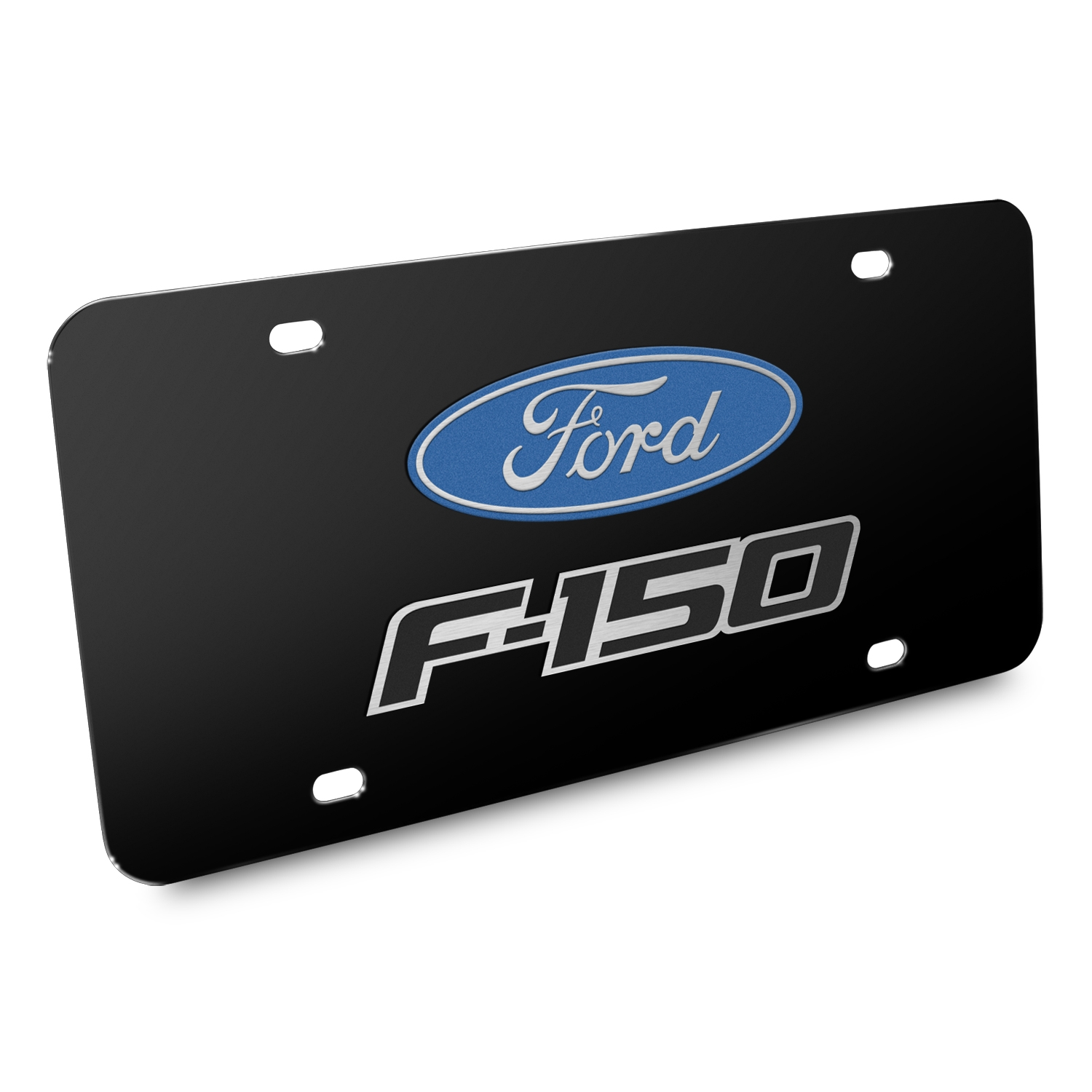 Ford F-150 2008-2014 3D Dual Logo Black Stainless Steel License Plate