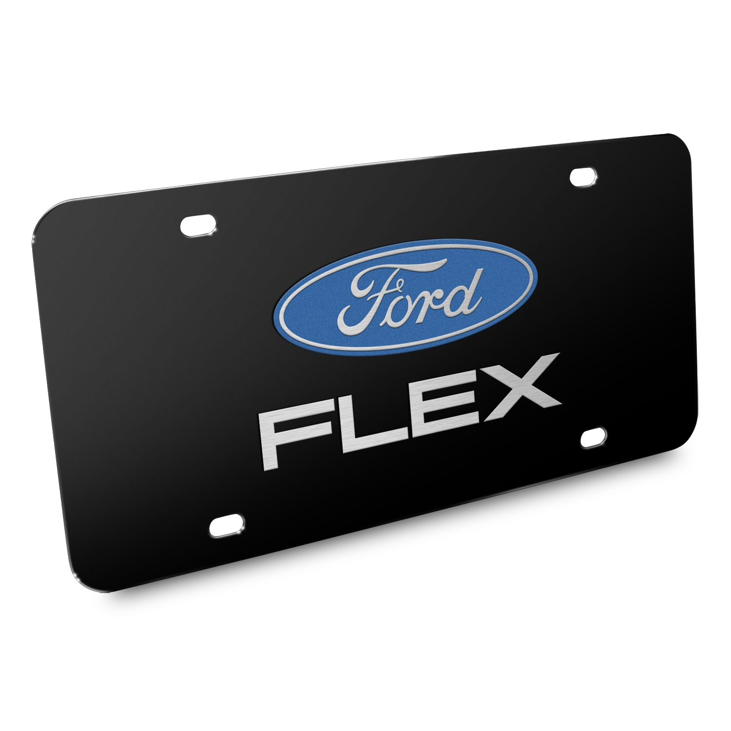 Ford Flex 3D Dual Logo Black Stainless Steel License Plate