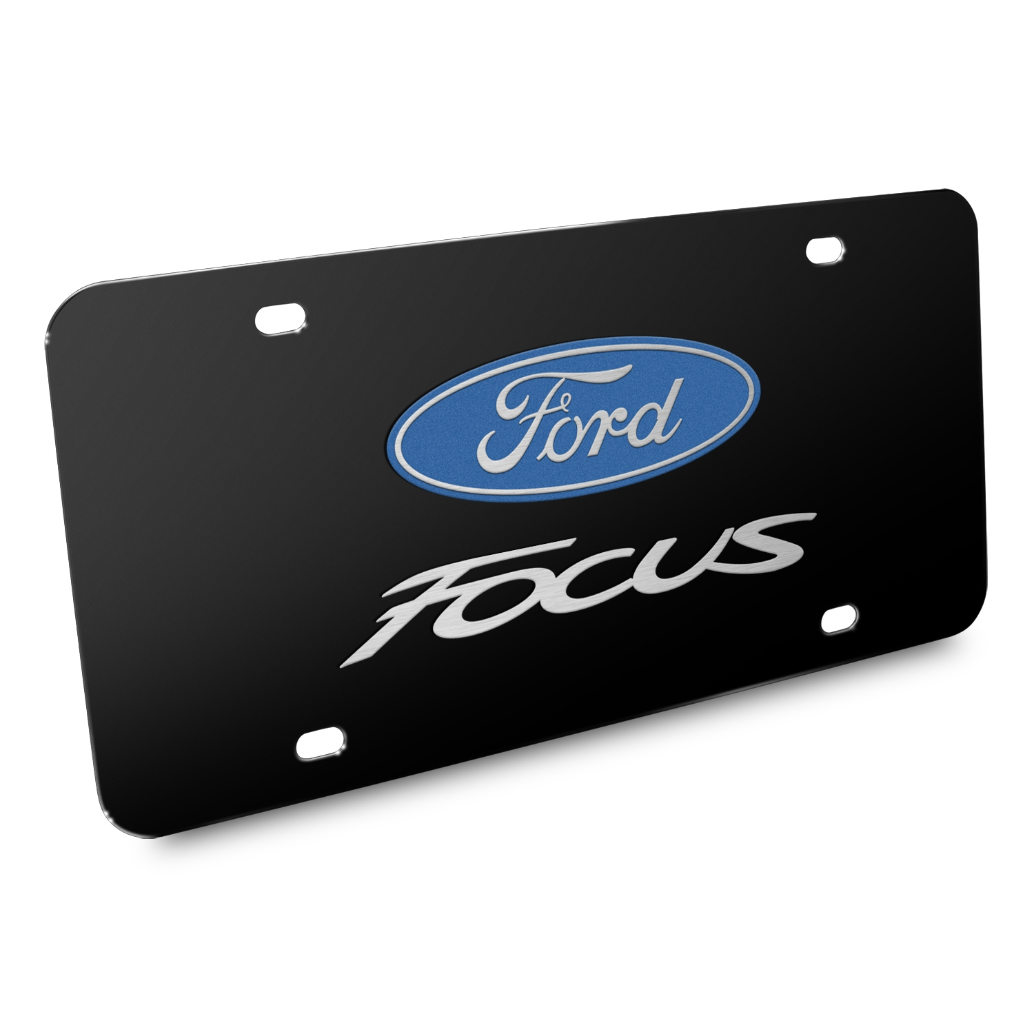Ford Focus 3D Dual Logo Black Stainless Steel License Plate