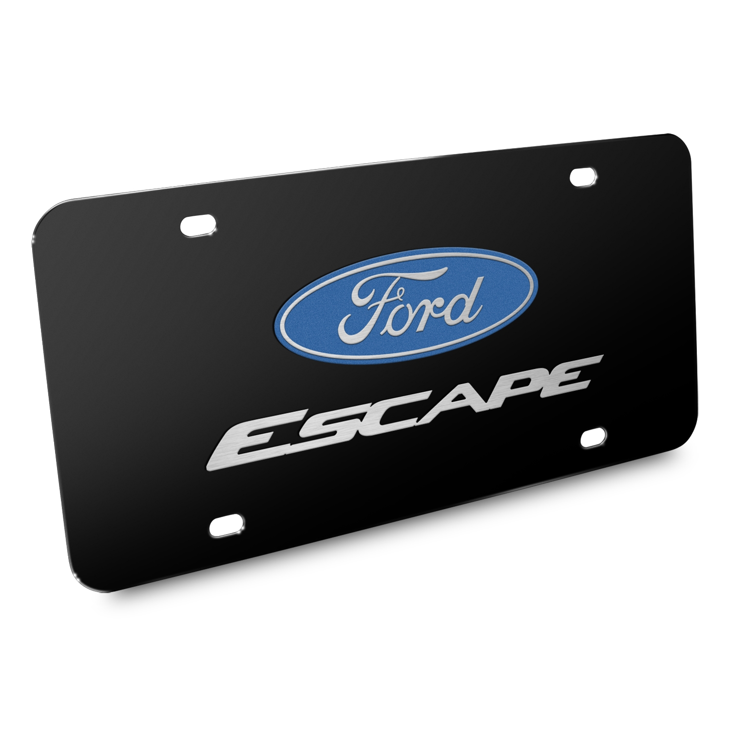 Ford Escape 3D Dual Logo Black Stainless Steel License Plate