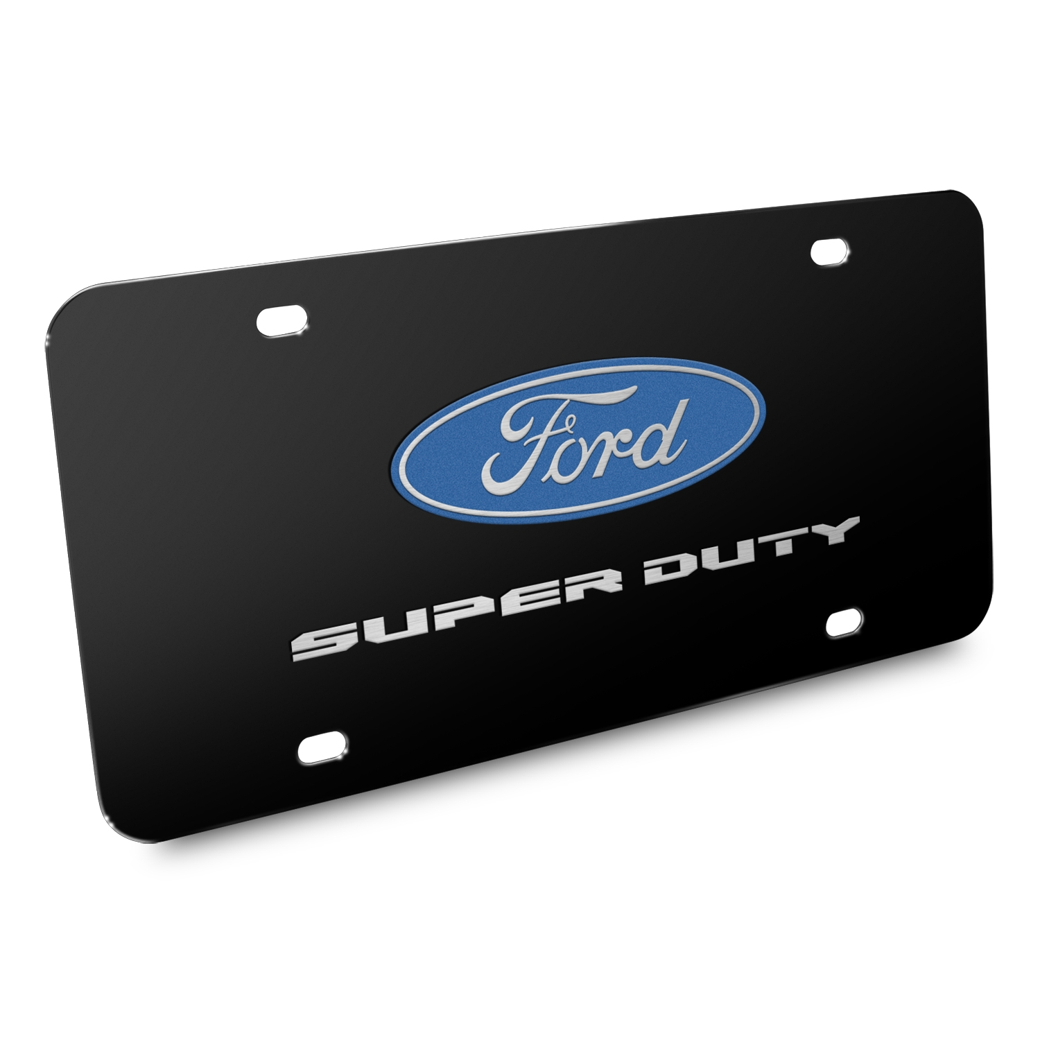 Ford Super-Duty 3D Dual Logo Black Stainless Steel License Plate