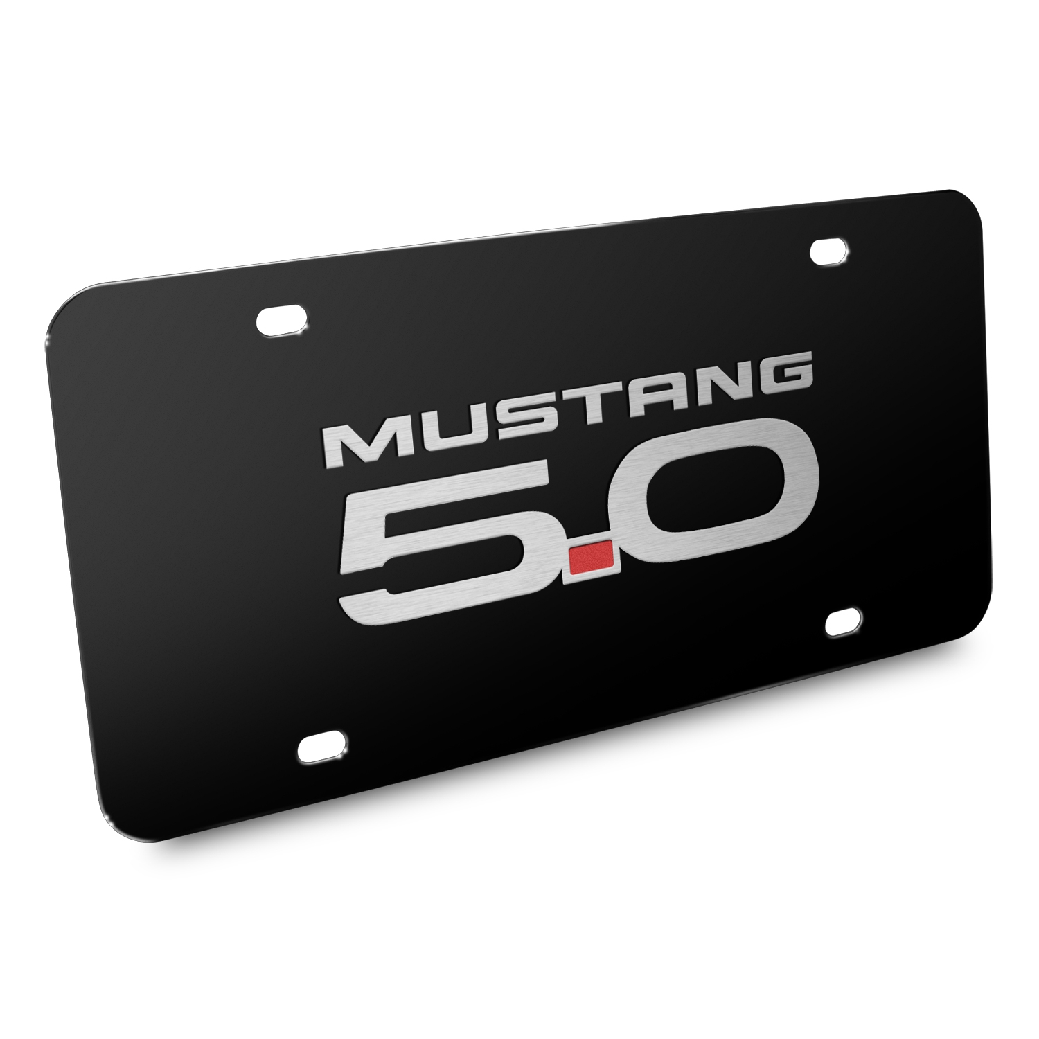 Ford Mustang GT 5.0 3D Black Stainless Steel License Plate
