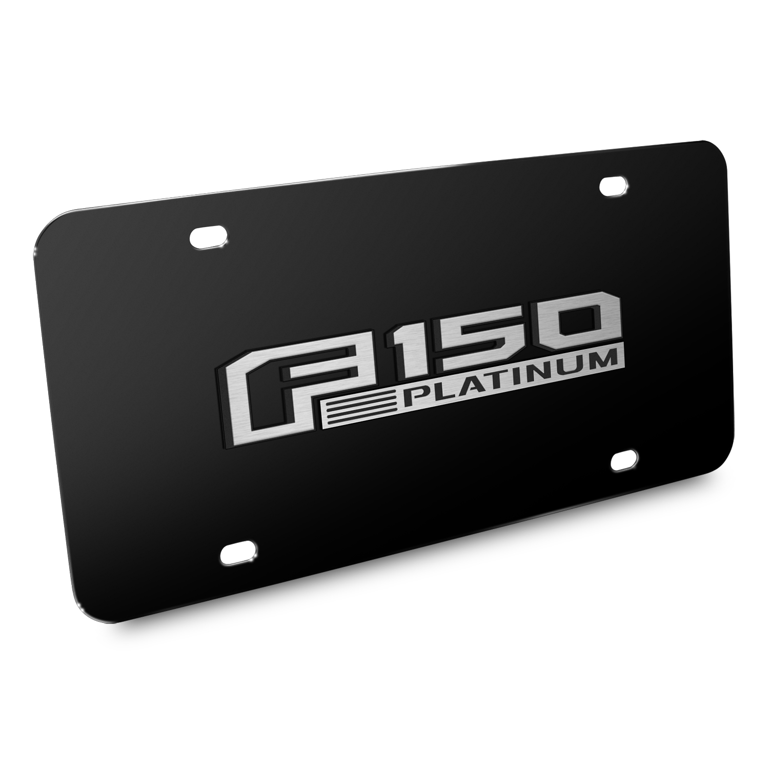 Ford 150 Platinum 3D Black Stainless Steel License Plate