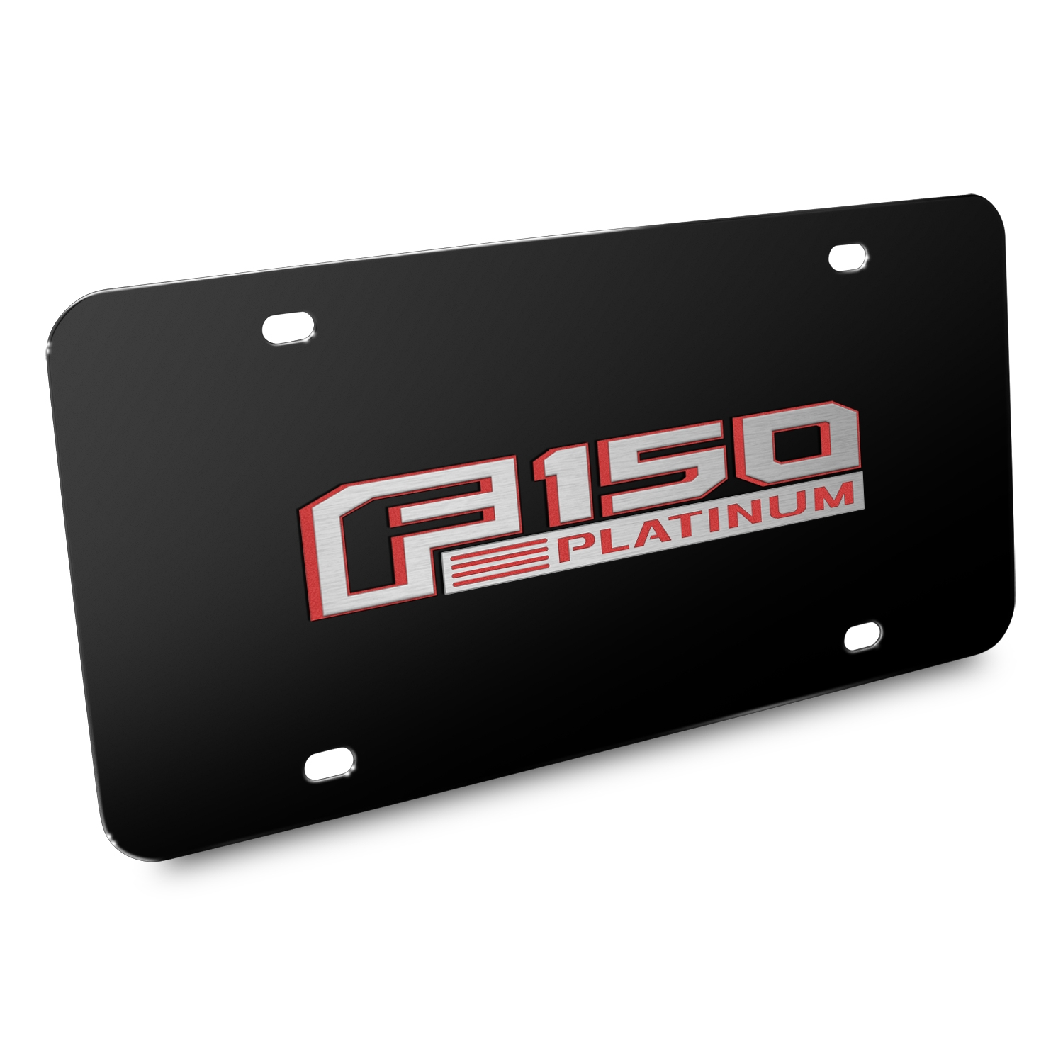 Ford 150 Platinum in Red 3D Black Stainless Steel License Plate
