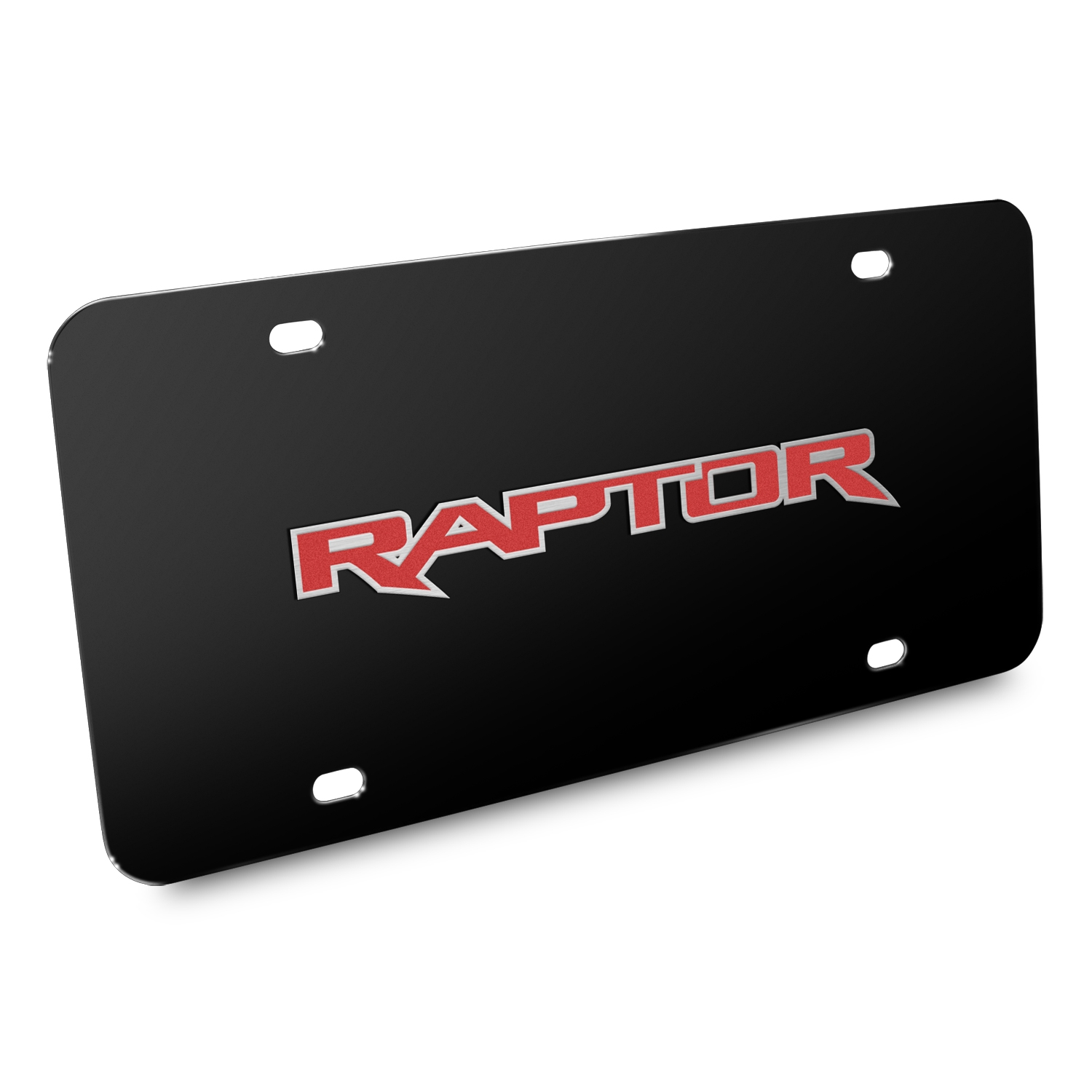 Ford 150 Raptor in Red 3D Black Stainless Steel License Plate
