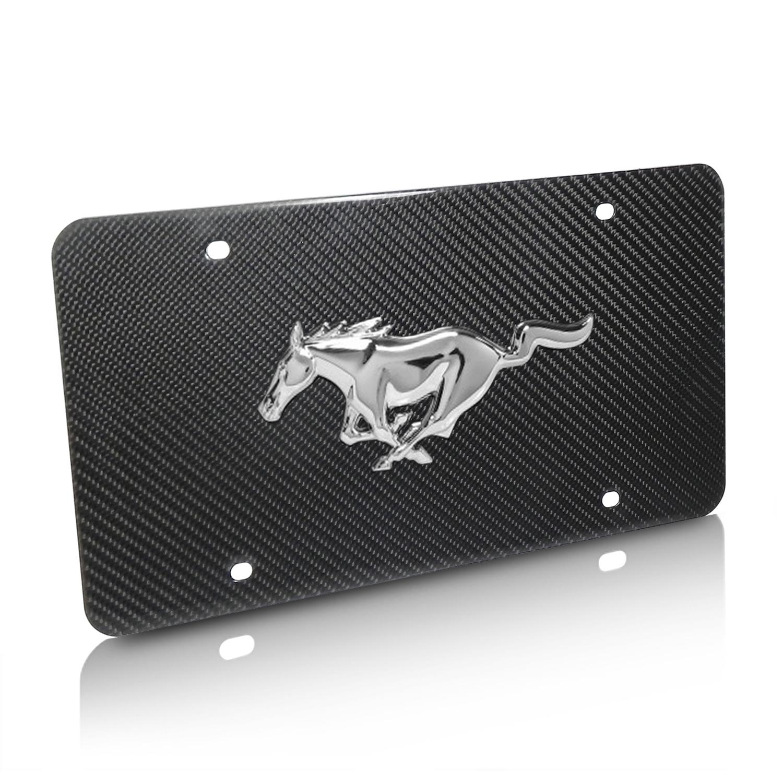 Ford Mustang 3D Logo Real Black Carbon Fiber License Plate