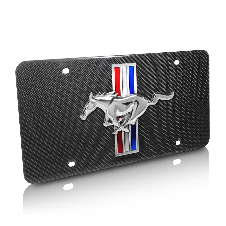 Ford Mustang 3D Logo Stripes Real Black Carbon Fiber License Plate