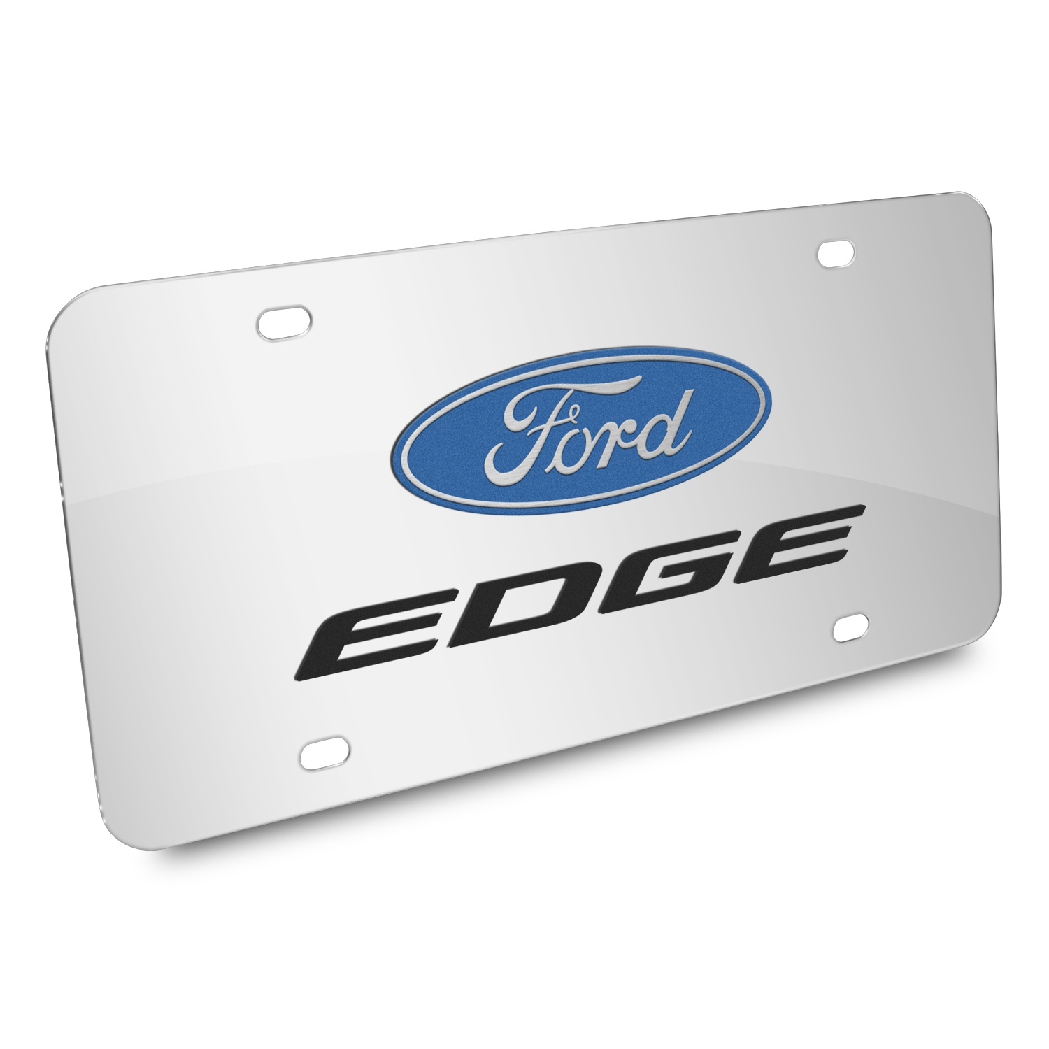Ford Edge 3D Dual Logo Mirror Chrome Stainless Steel License Plate