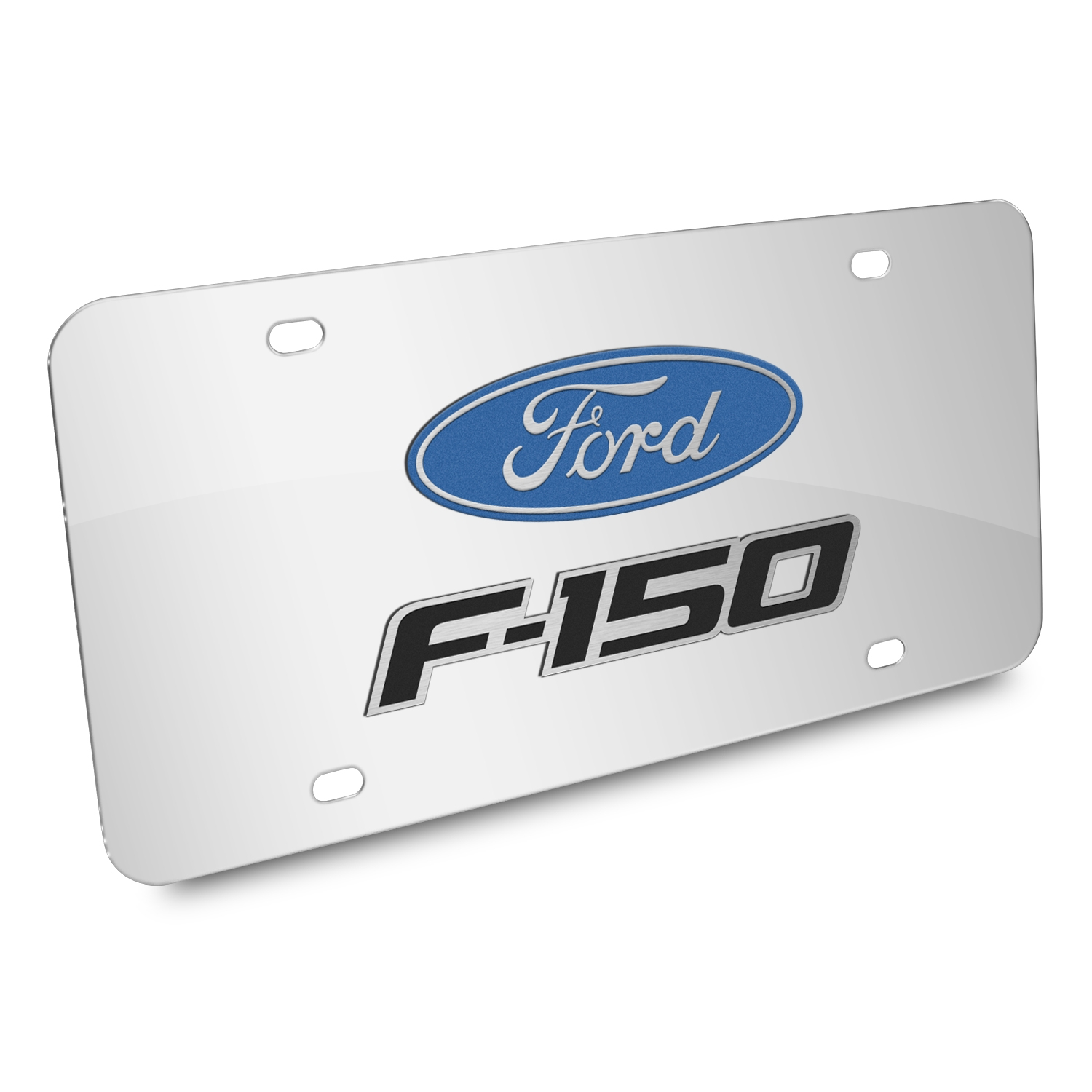 Ford F-150 2008-2014 3D Dual Logo Mirror Chrome Stainless Steel License Plate