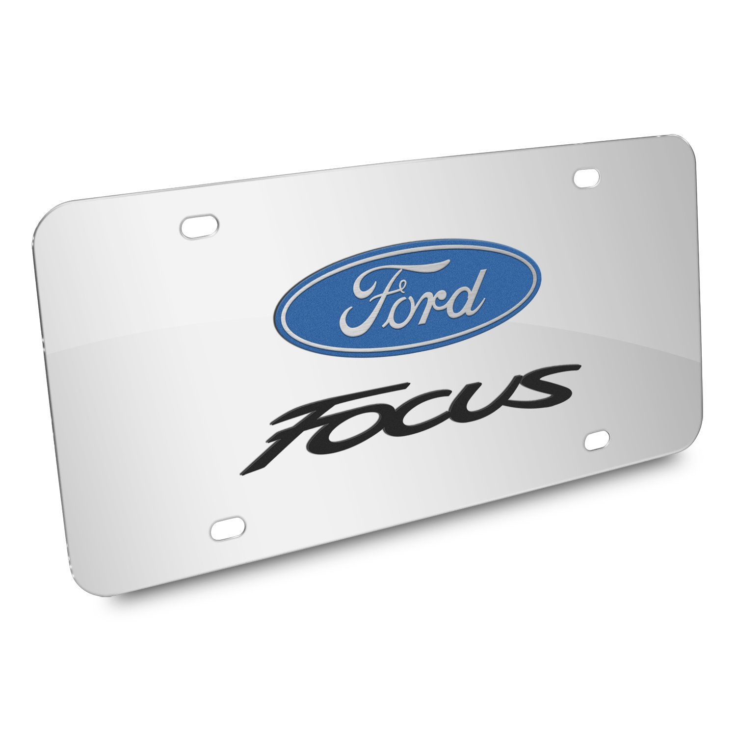 Ford Focus 3D Dual Logo Mirror Chrome Stainless Steel License Plate