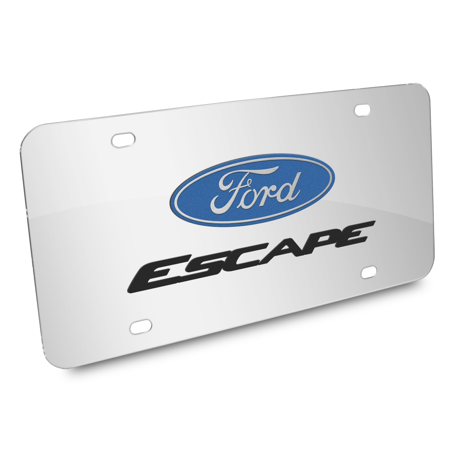 Ford Escape 3D Dual Logo Mirror Chrome Stainless Steel License Plate