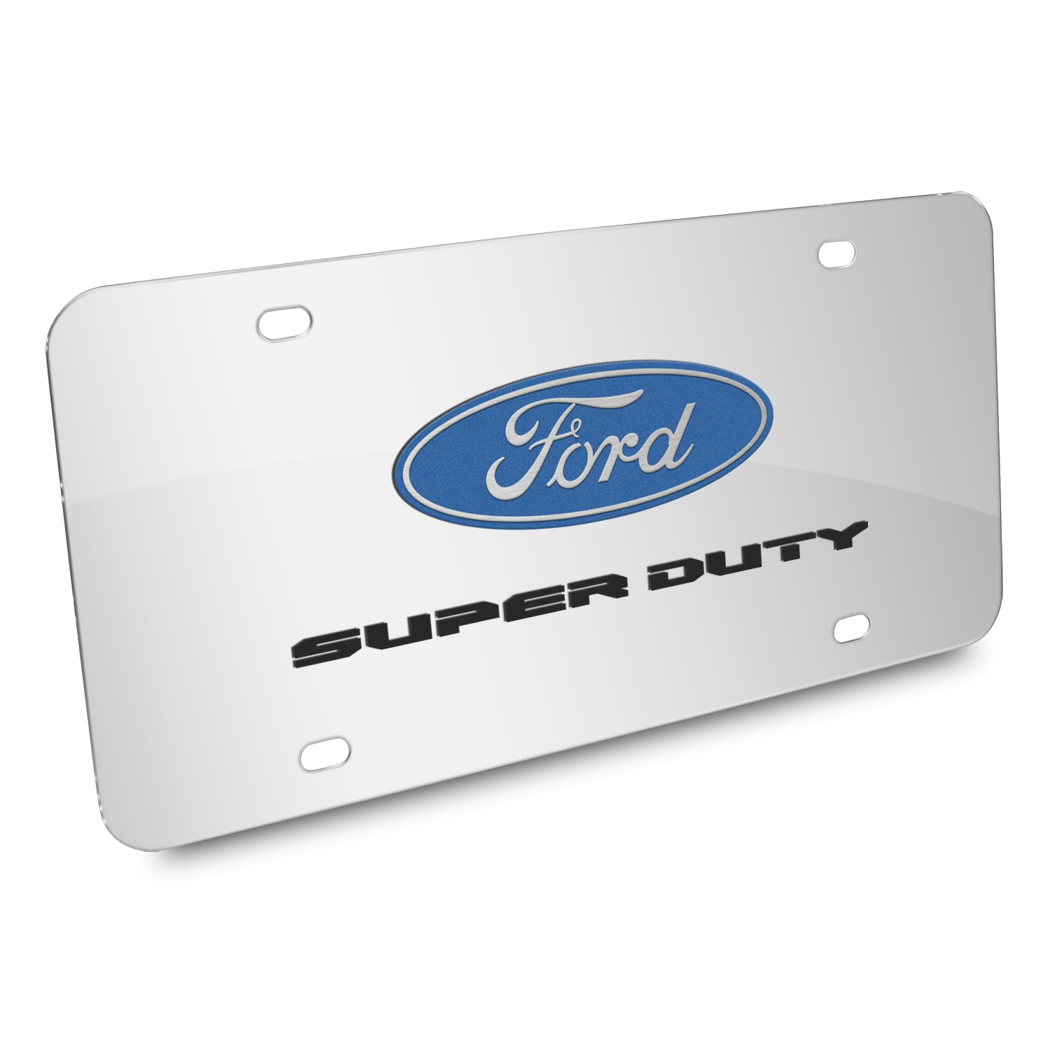 Ford Super-Duty 3D Dual Logo Mirror Chrome Stainless Steel License Plate