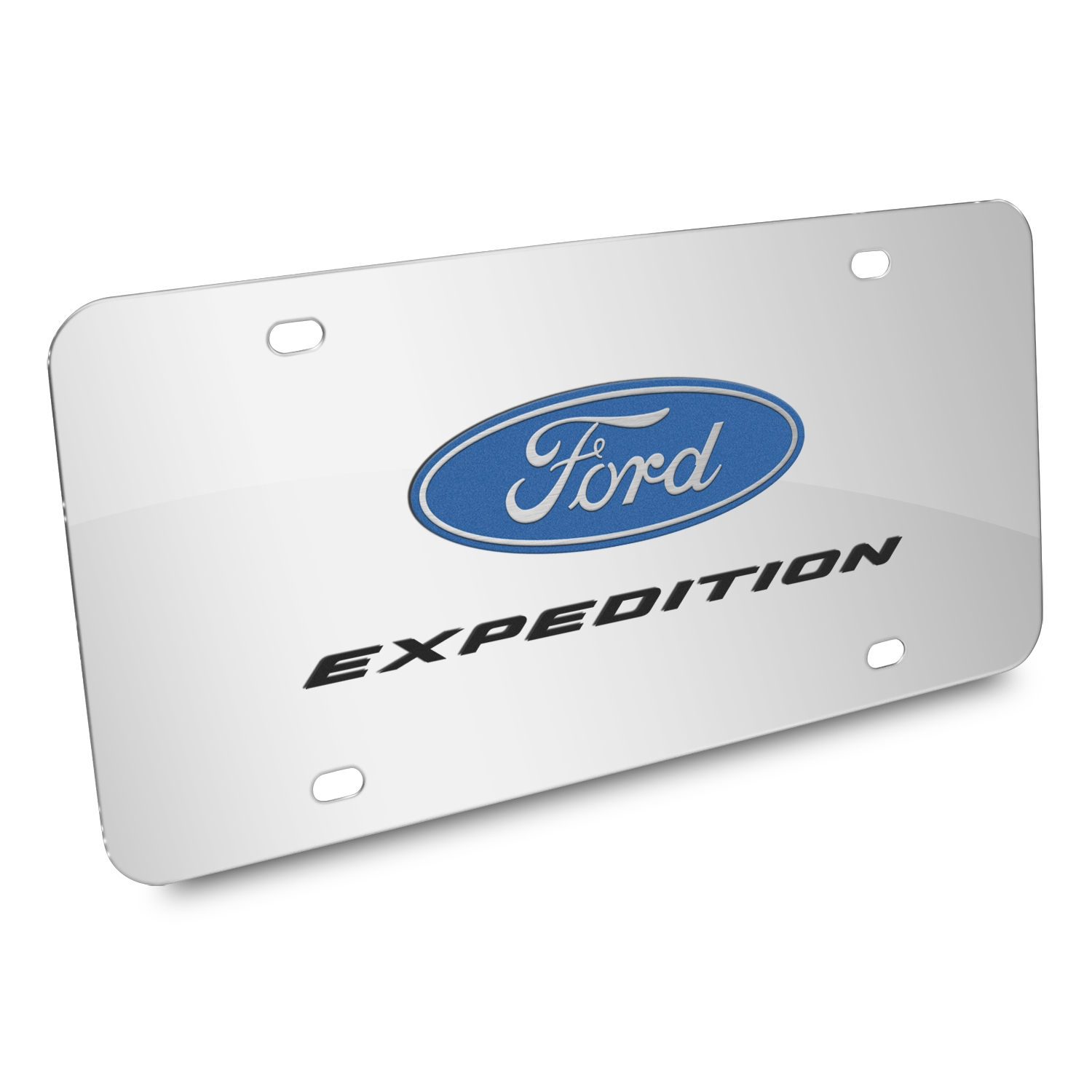 Ford Expedition 3D Dual Logo Mirror Chrome Stainless Steel License Plate