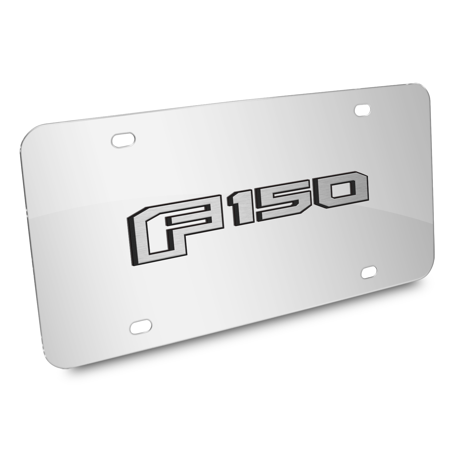 Ford F150 2015 up 3D Mirror Chrome Stainless Steel License Plate