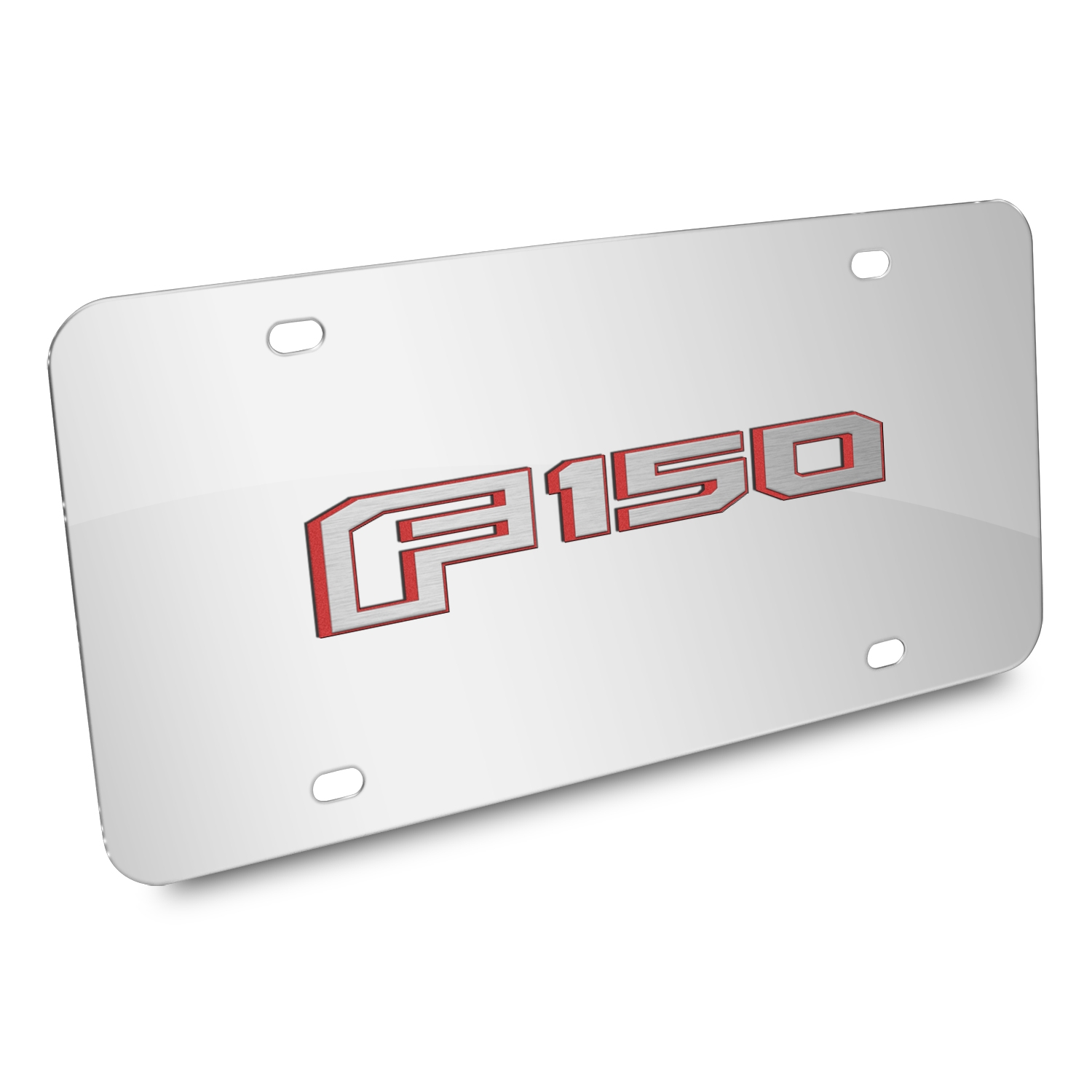 Ford F150 in Red 2015 up 3D Mirror Chrome Stainless Steel License Plate