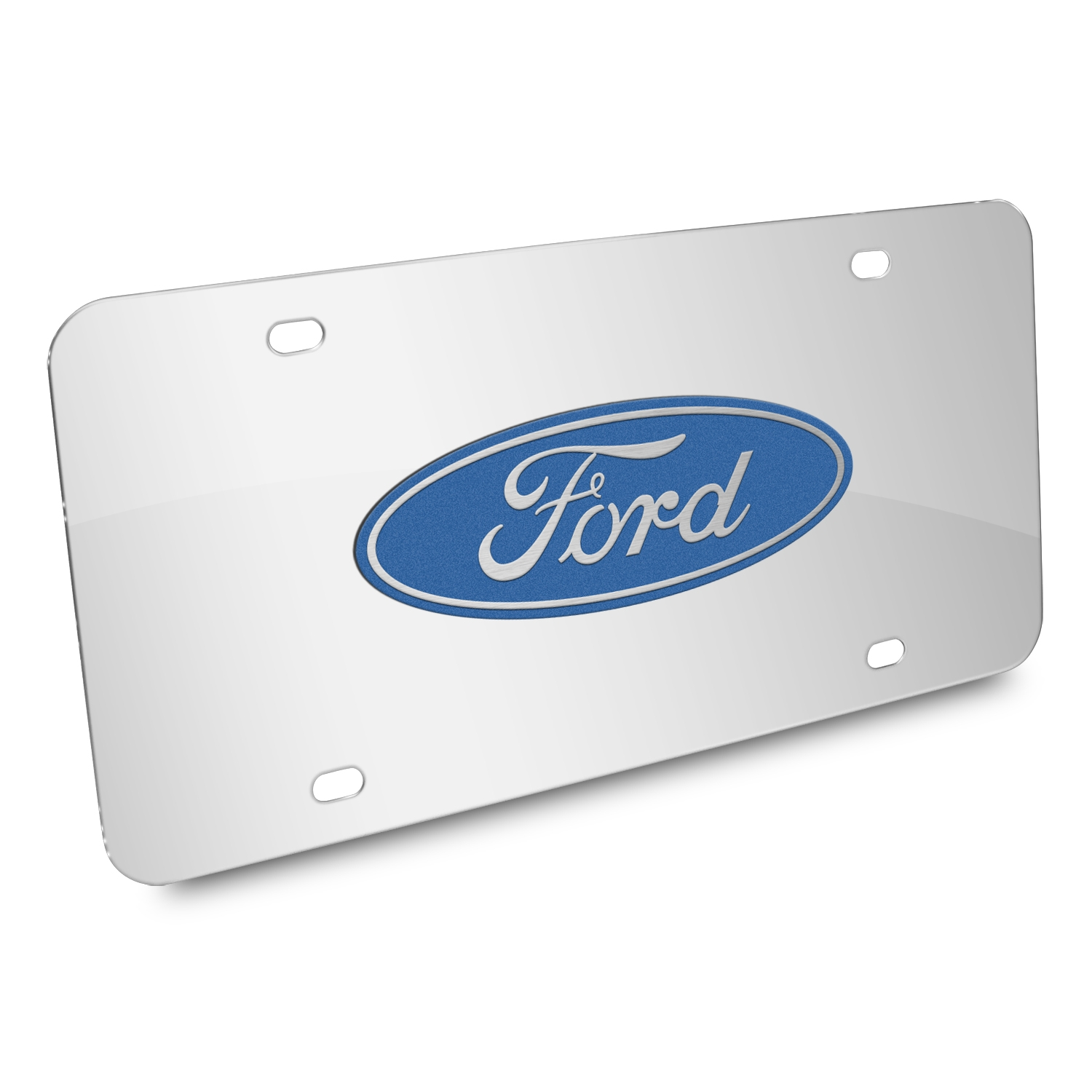 Ford Logo 3D Mirror Chrome Stainless Steel License Plate