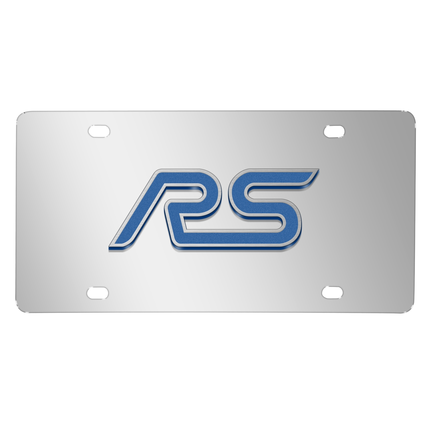 Ford Focus RS 3D Mirror Chrome Stainless Steel License Plate