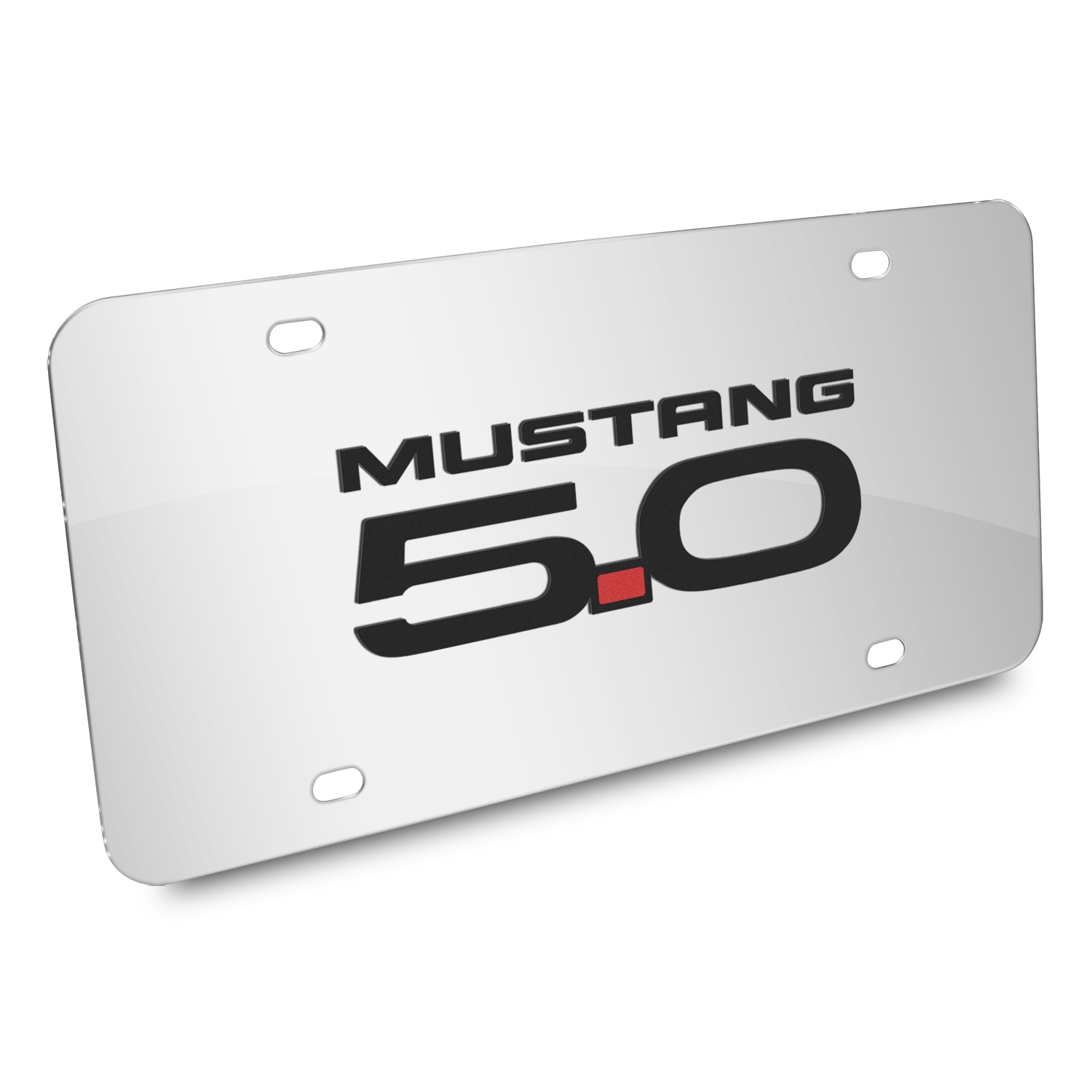 Ford Mustang GT 5.0 3D Mirror Chrome Stainless Steel License Plate