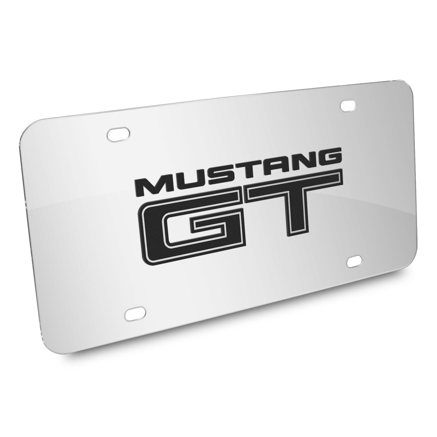 Ford Mustang GT 3D Mirror Chrome Stainless Steel License Plate