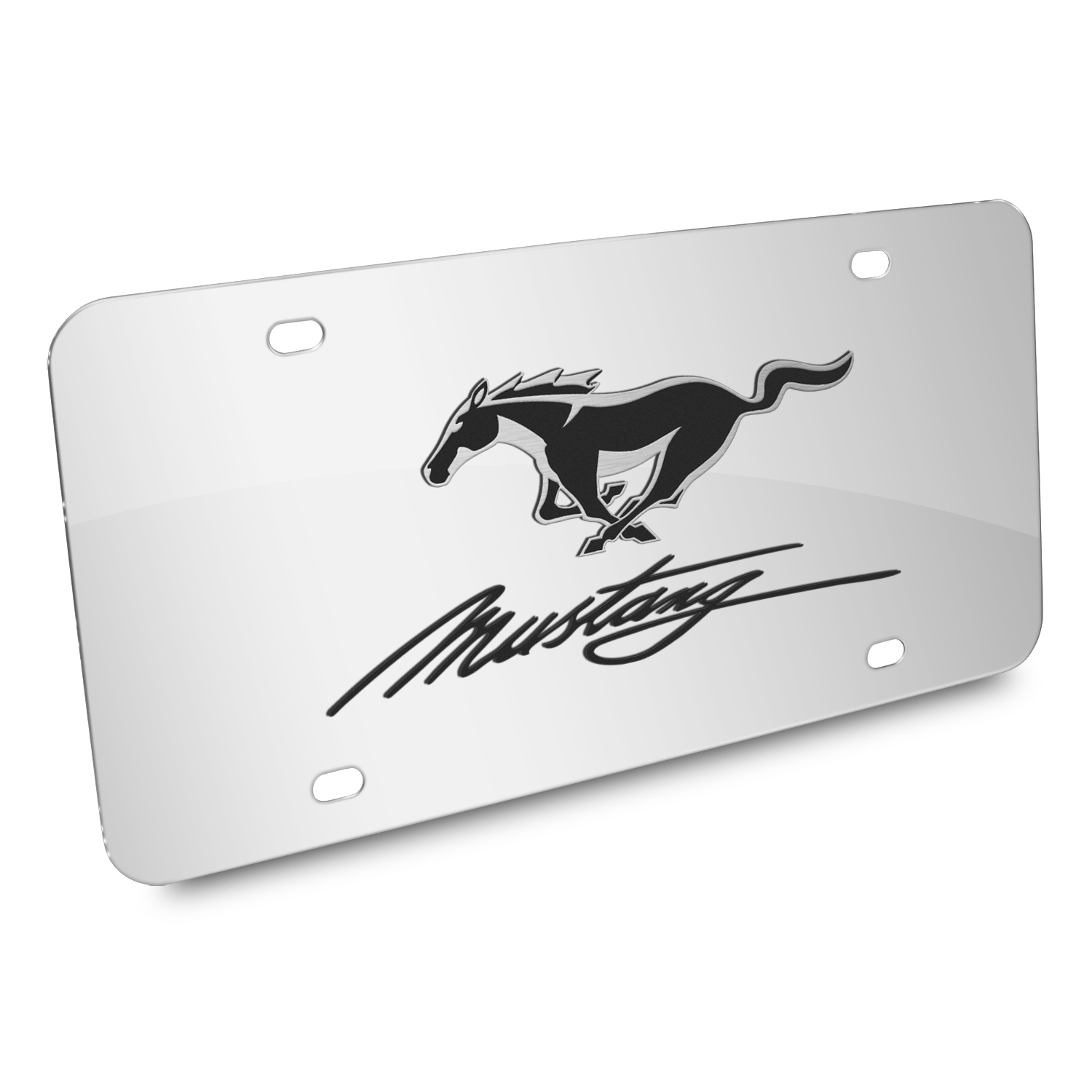 Ford Mustang Pony and Script 3D Mirror Chrome Stainless Steel License Plate