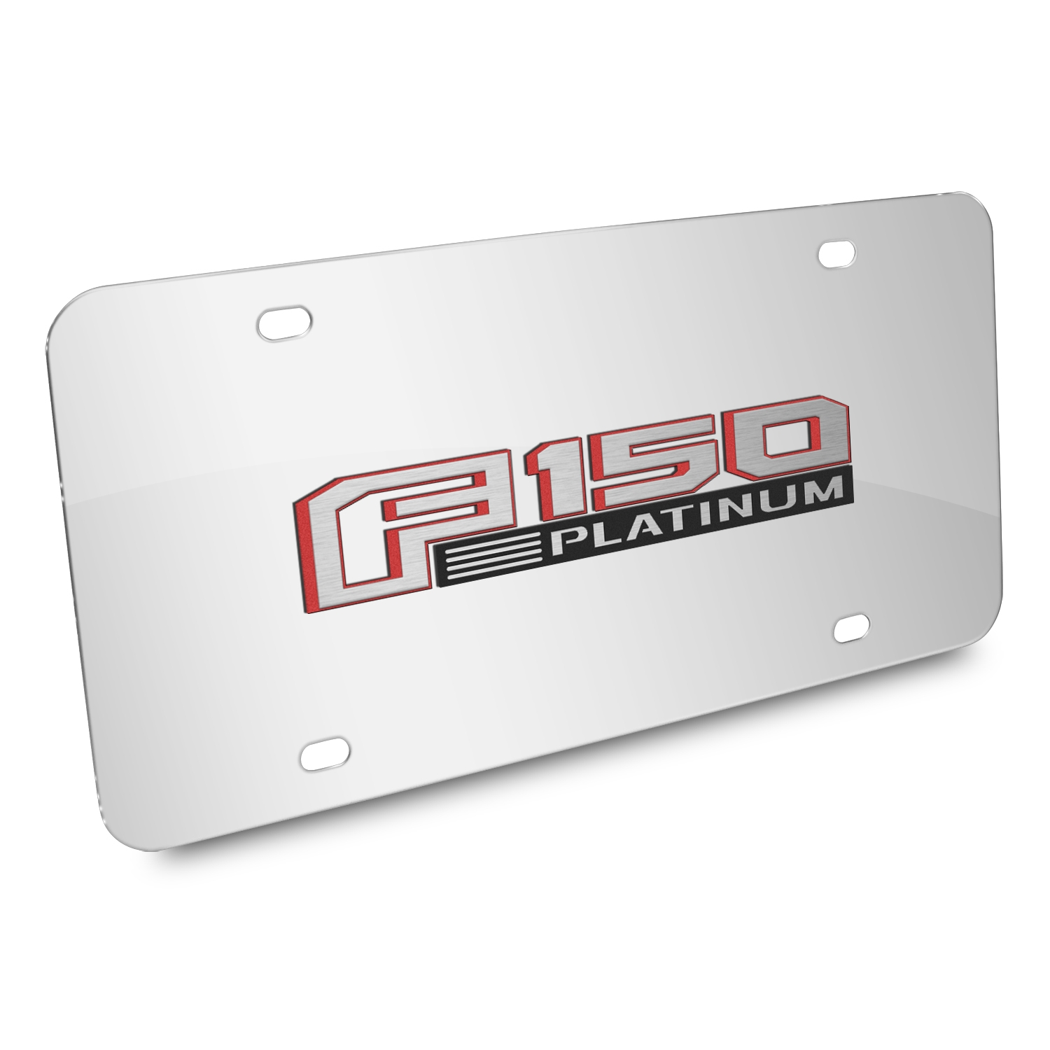 Ford 150 Platinum in Red 3D Mirror Chrome Stainless Steel License Plate