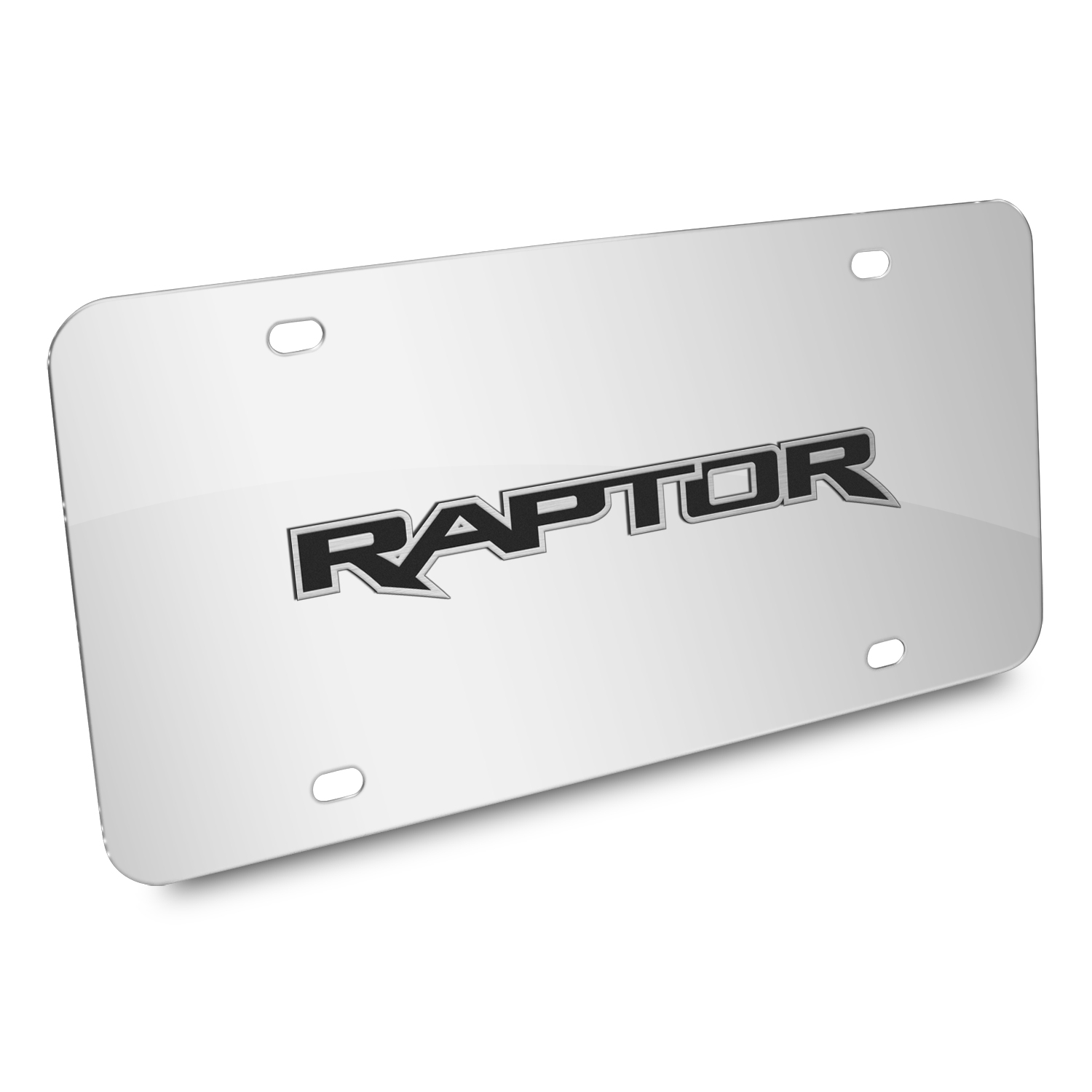 Ford 150 Raptor 3D Mirror Chrome Stainless Steel License Plate
