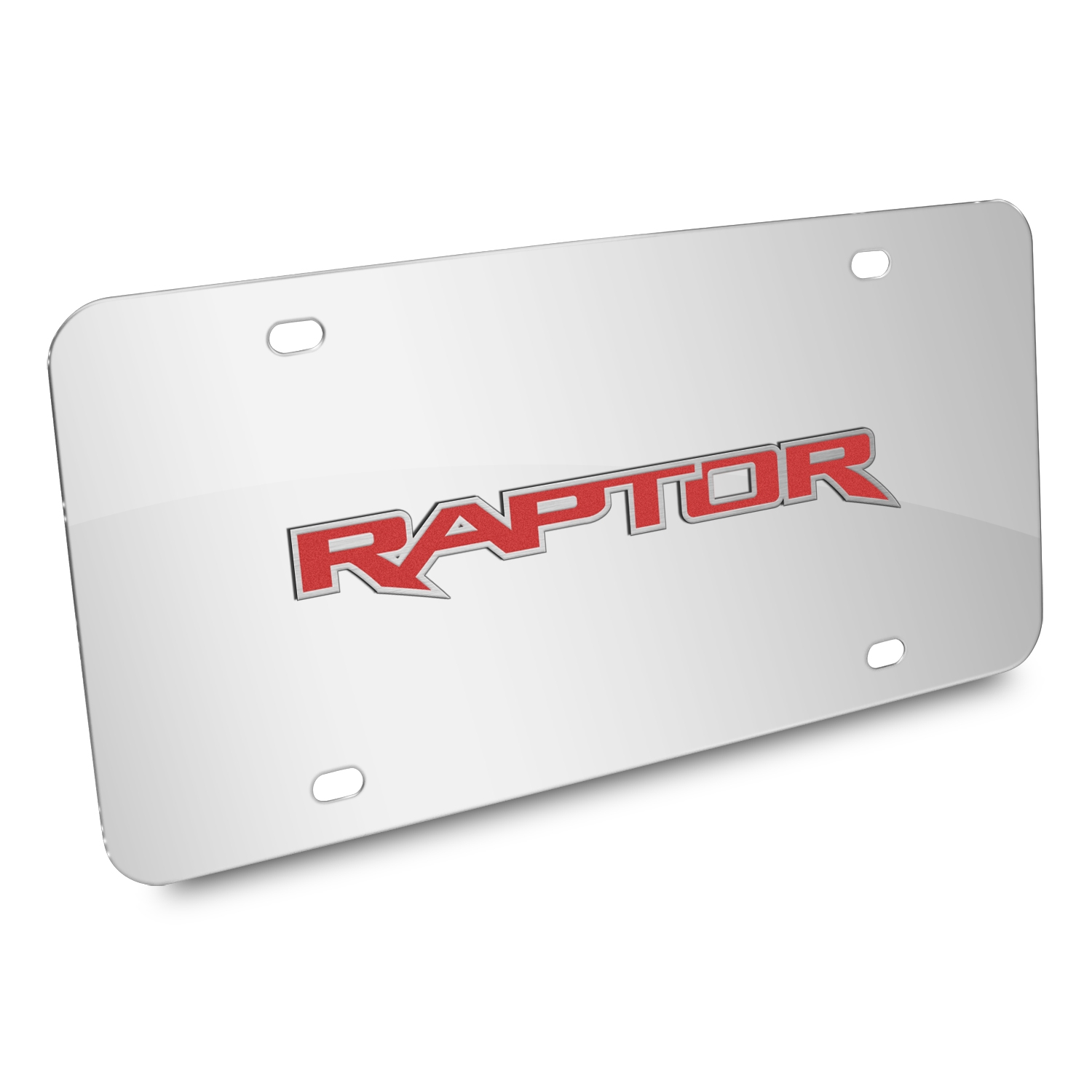 Ford 150 Raptor in Red 3D Mirror Chrome Stainless Steel License Plate