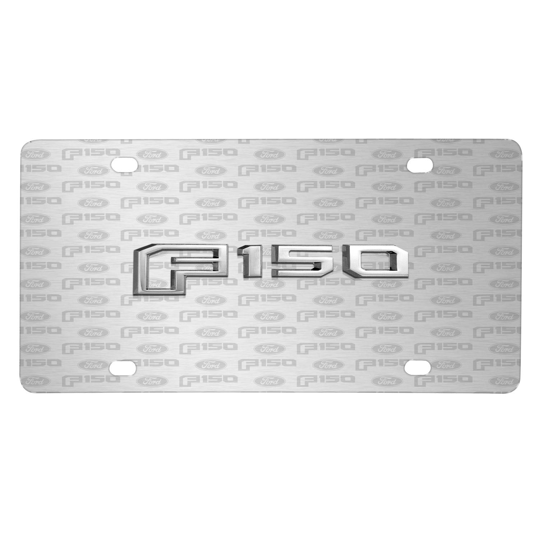 Ford F-150 2015 up 3D Logo on Logo Pattern Brushed Aluminum License Plate
