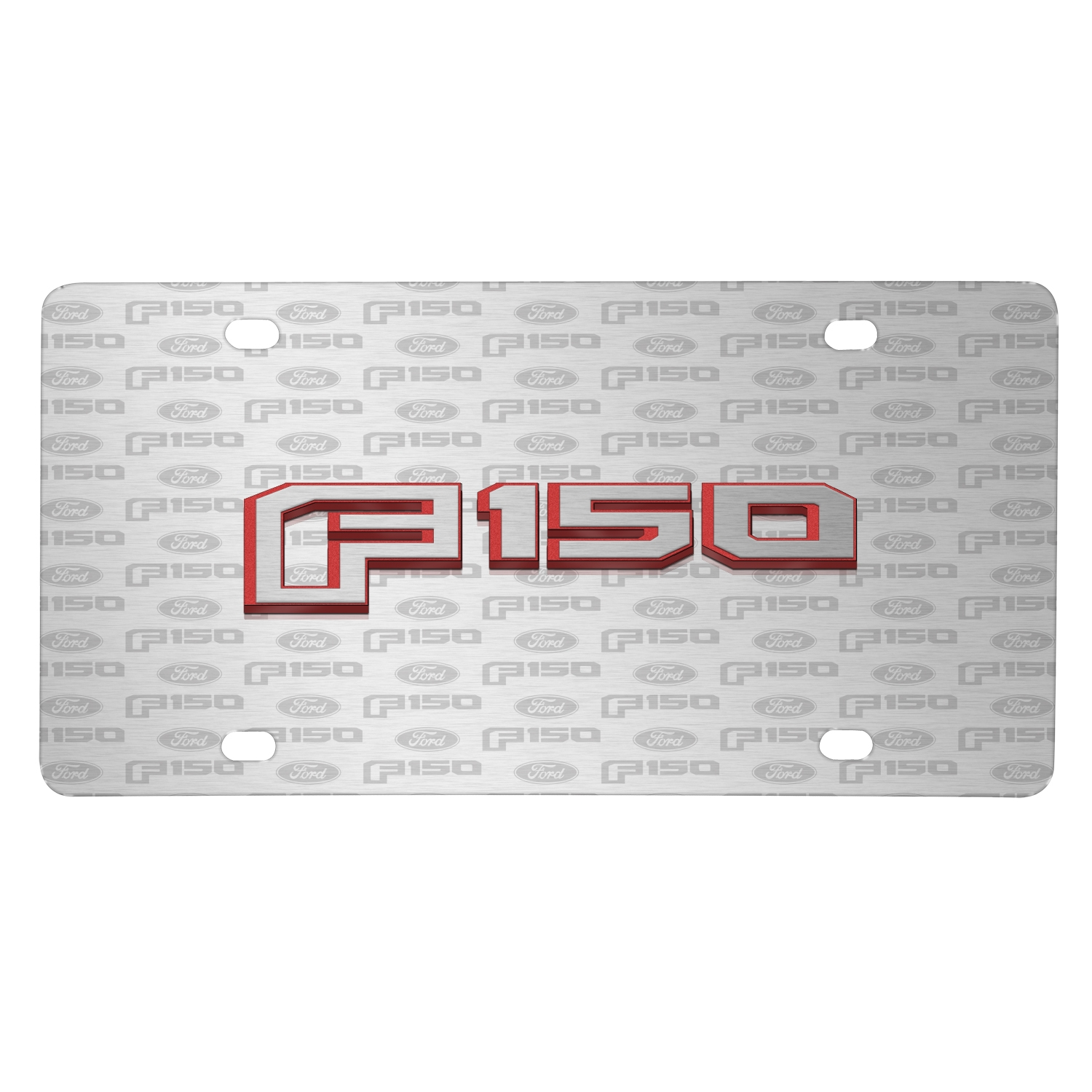 Ford F-150 in Red 2015 up 3D Logo on Logo Pattern Brushed Aluminum License Plate